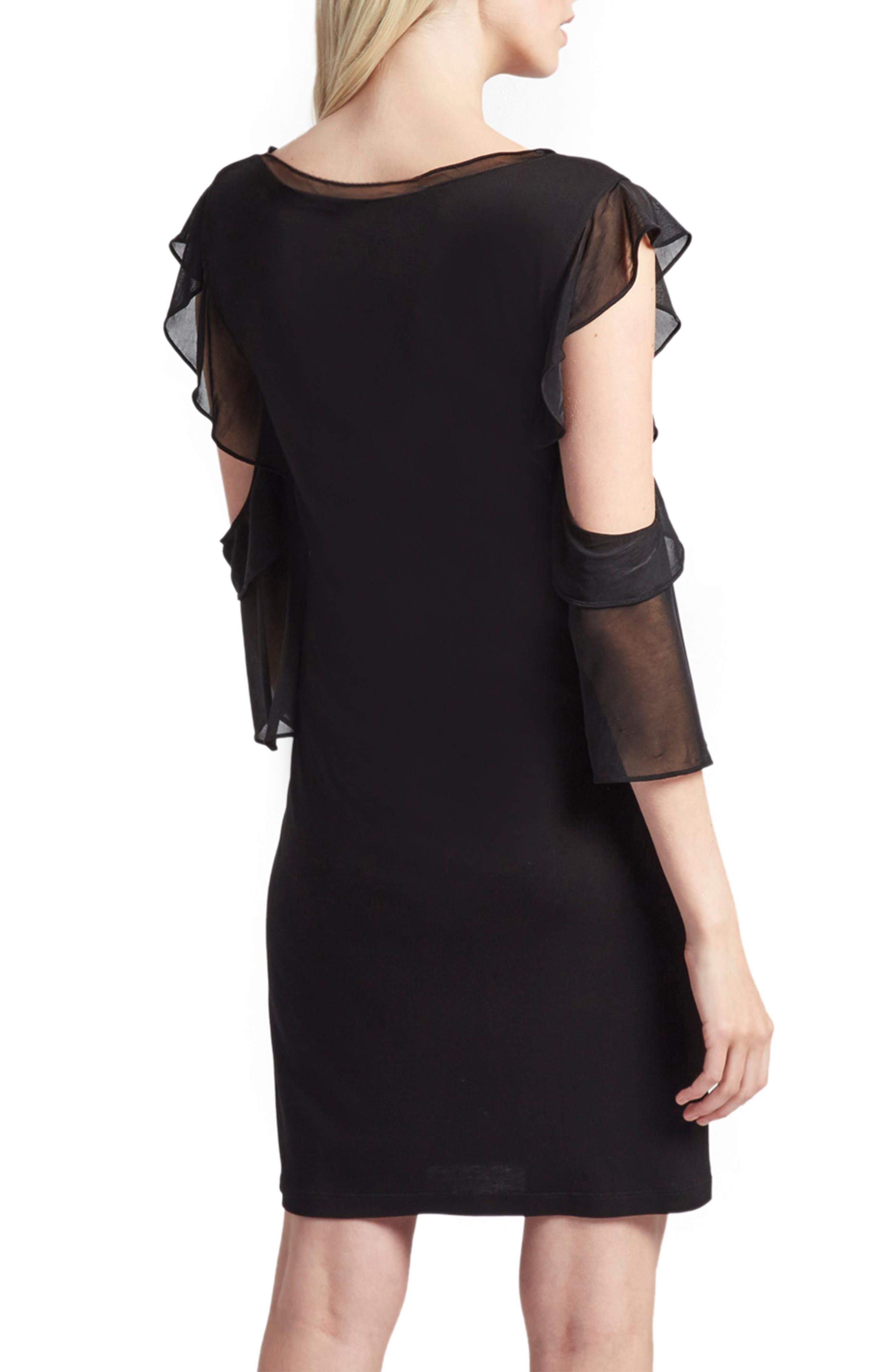 Ruffle Mix Jersey Dress,                             Alternate thumbnail 2, color,                             001