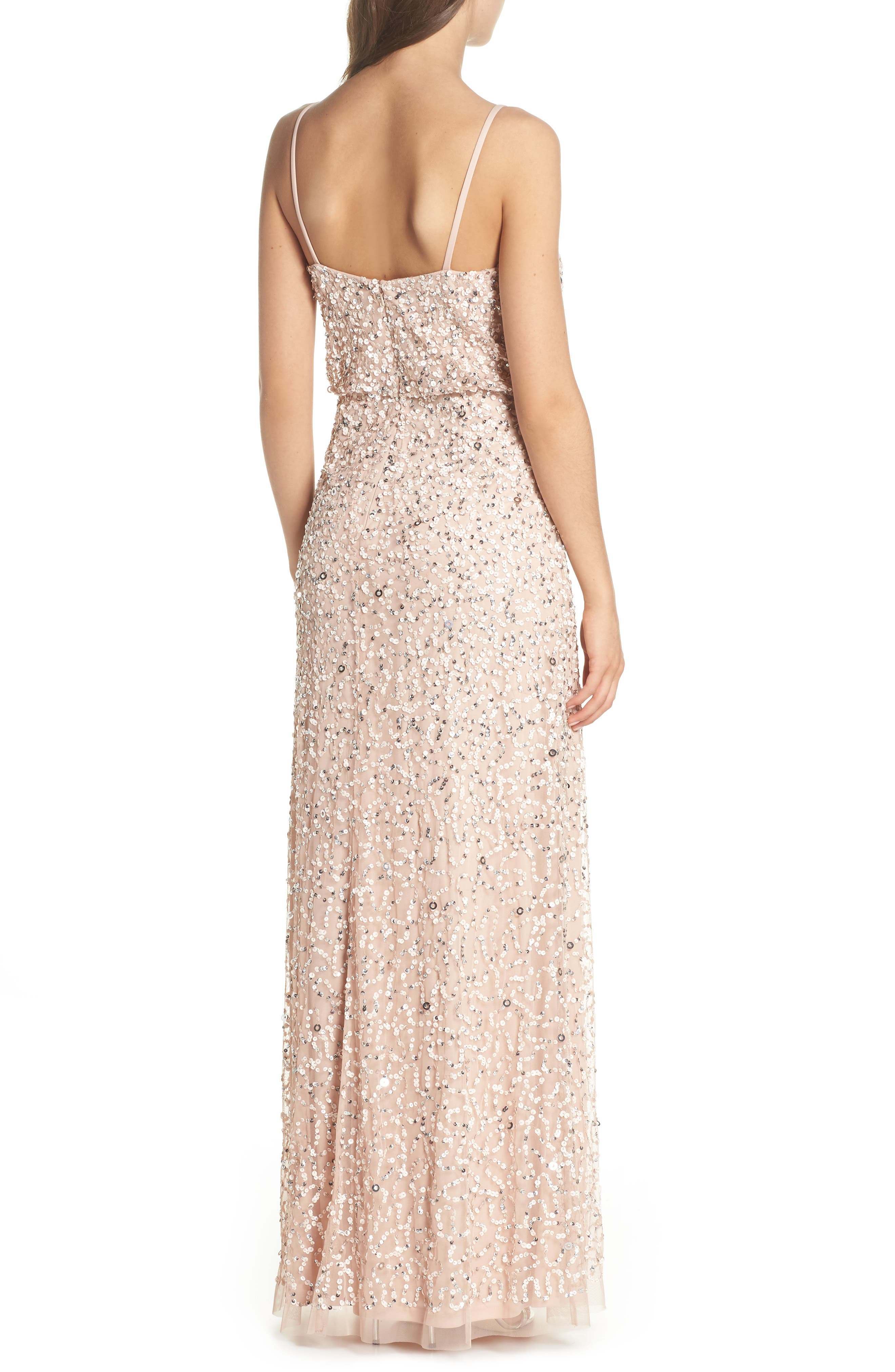 Sequin Blouson Gown,                             Alternate thumbnail 2, color,                             BLUSH