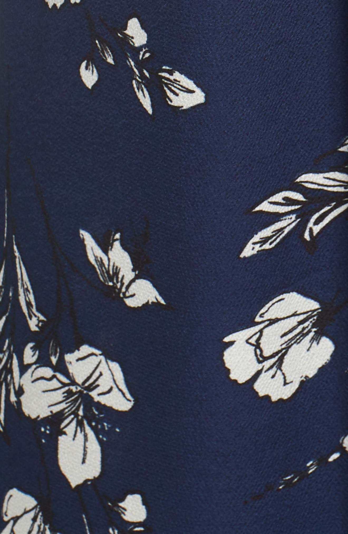 Tie Front Jumpsuit,                             Alternate thumbnail 6, color,                             NAVY FLORAL