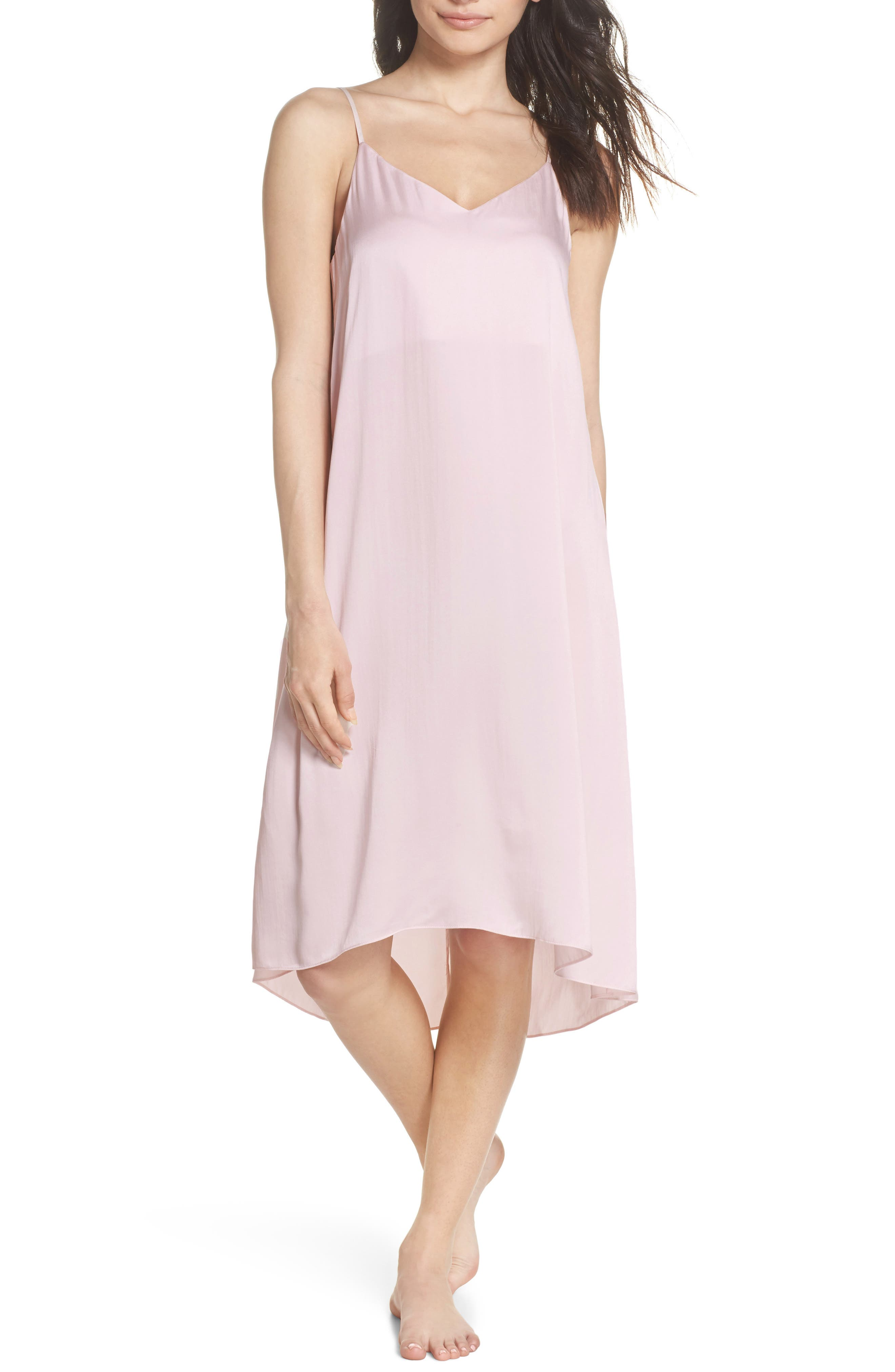 Silk Nightgown,                             Main thumbnail 1, color,                             ICE PINK