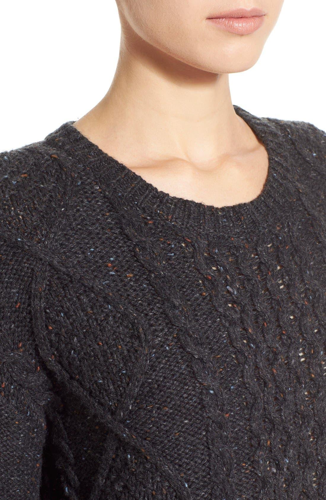 Treasure&Bond Cable Knit Sweater,                             Alternate thumbnail 5, color,                             020