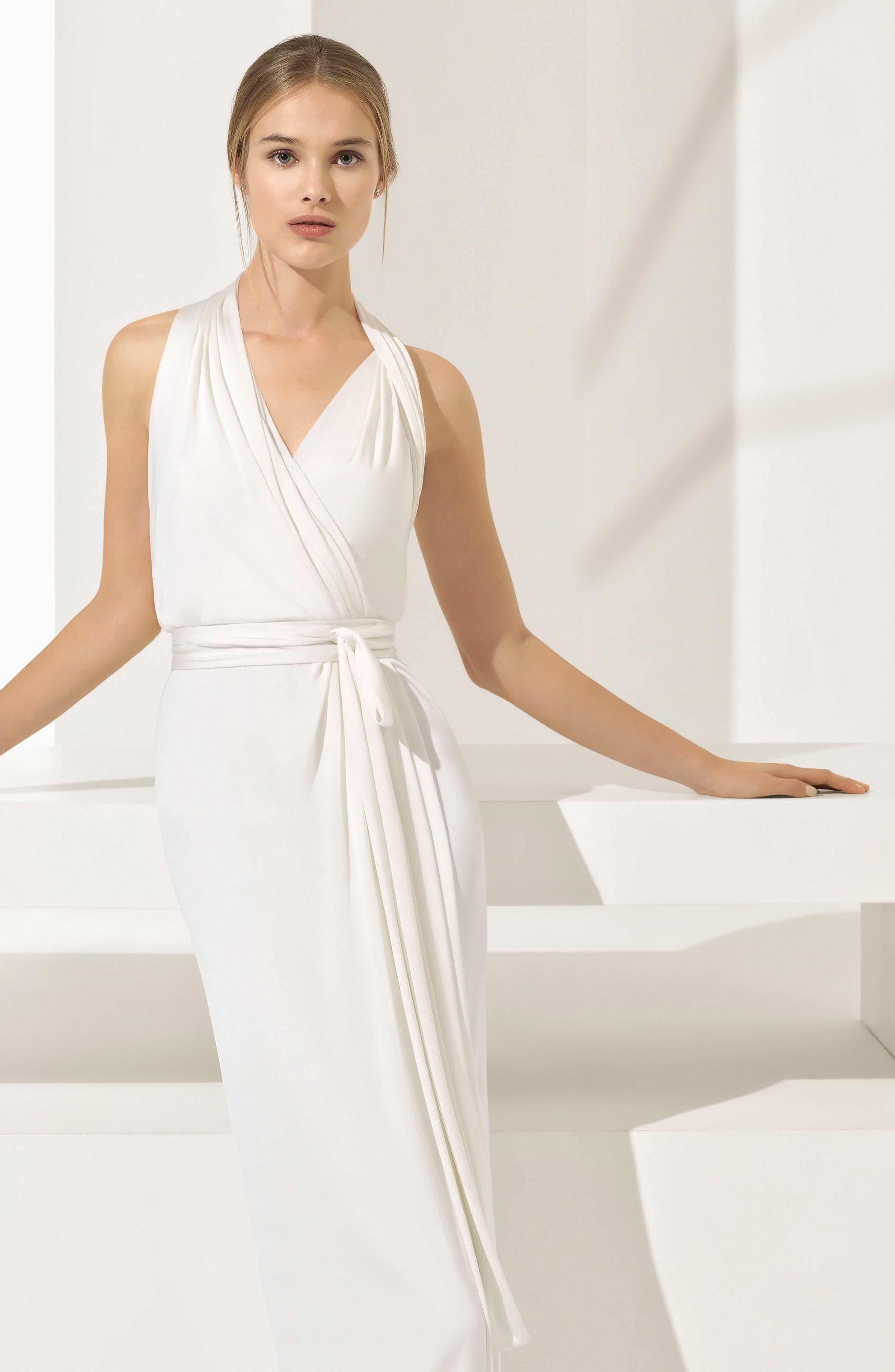Rosa Clará Couture Pamela Silk Knit Column Gown,                             Alternate thumbnail 3, color,                             NATURAL