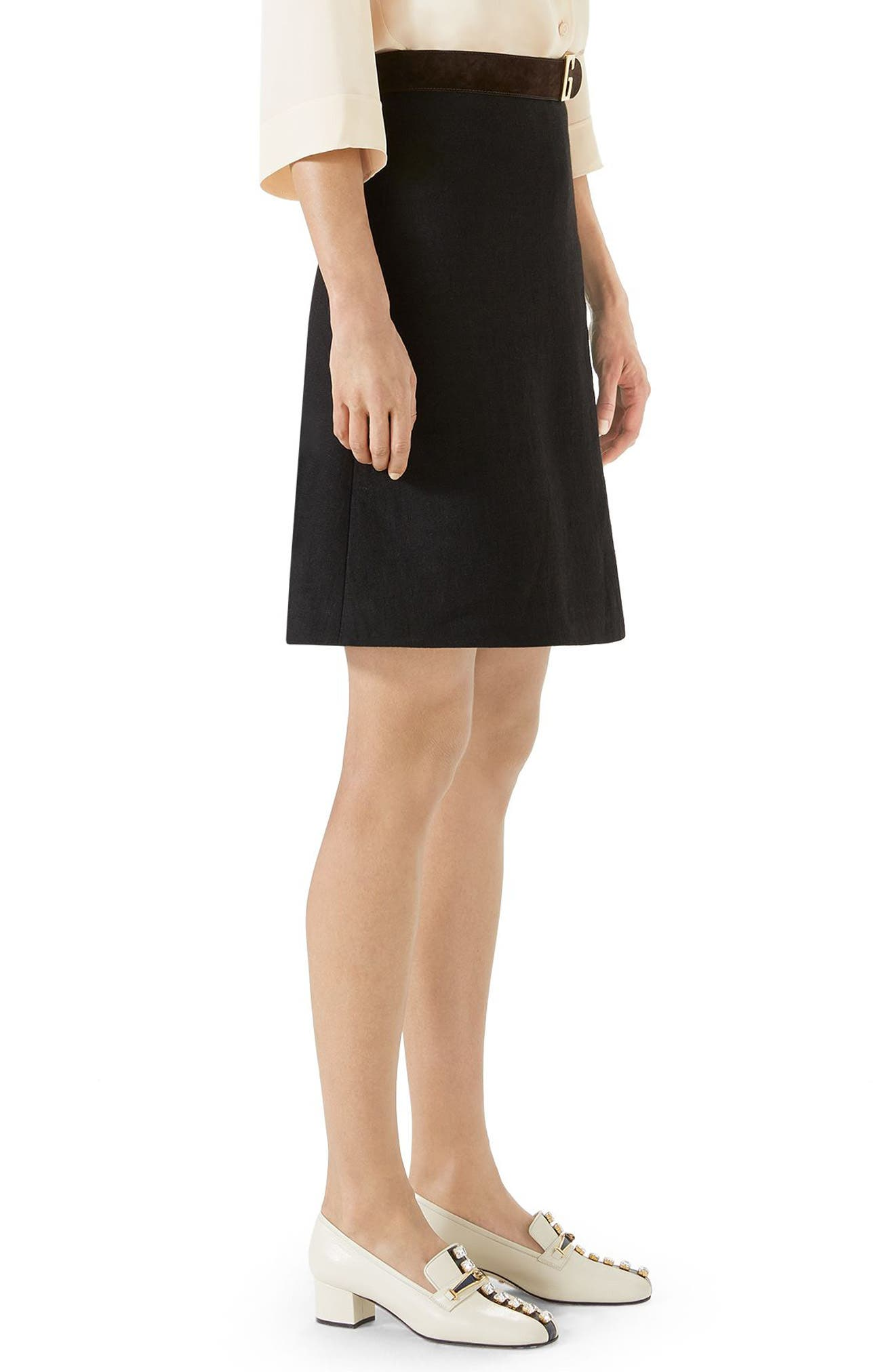 Linen Skirt with Suede Belt,                             Alternate thumbnail 3, color,                             BLACK