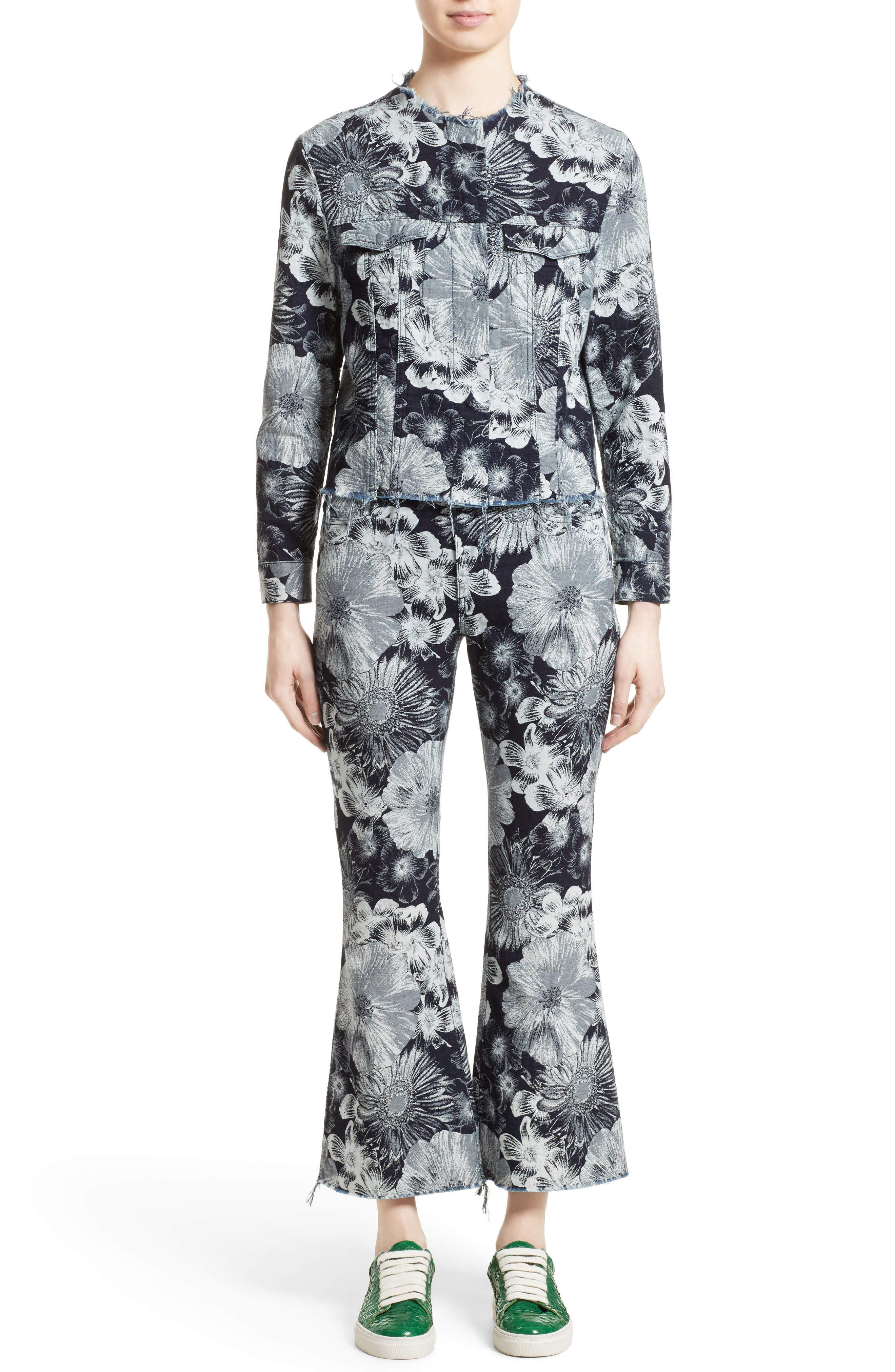 Marques'Almeida Floral Print Classic Fitted Denim Jacket,                             Alternate thumbnail 7, color,
