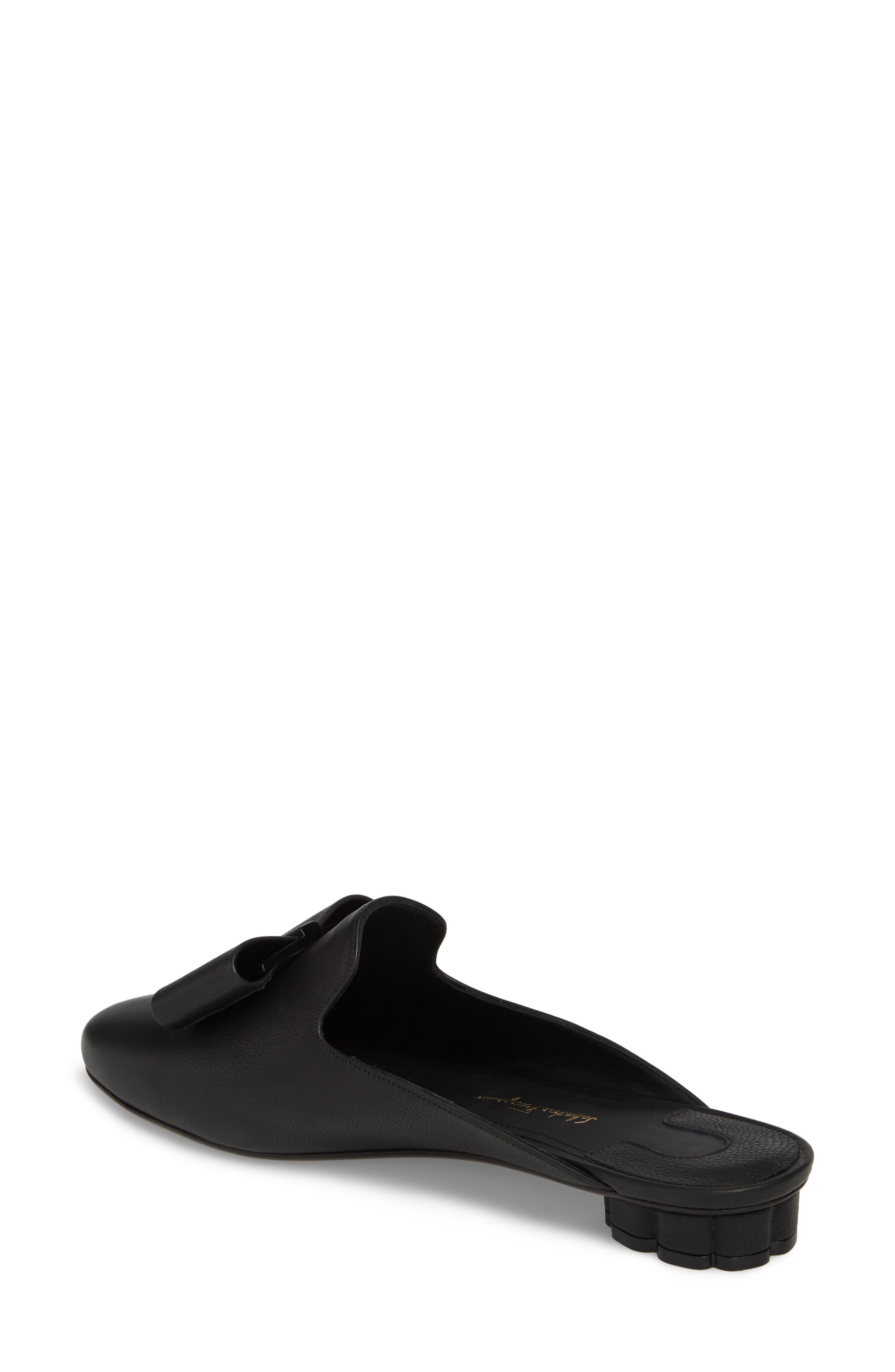 Sciacca Bow Loafer Mule,                             Alternate thumbnail 2, color,                             BLACK