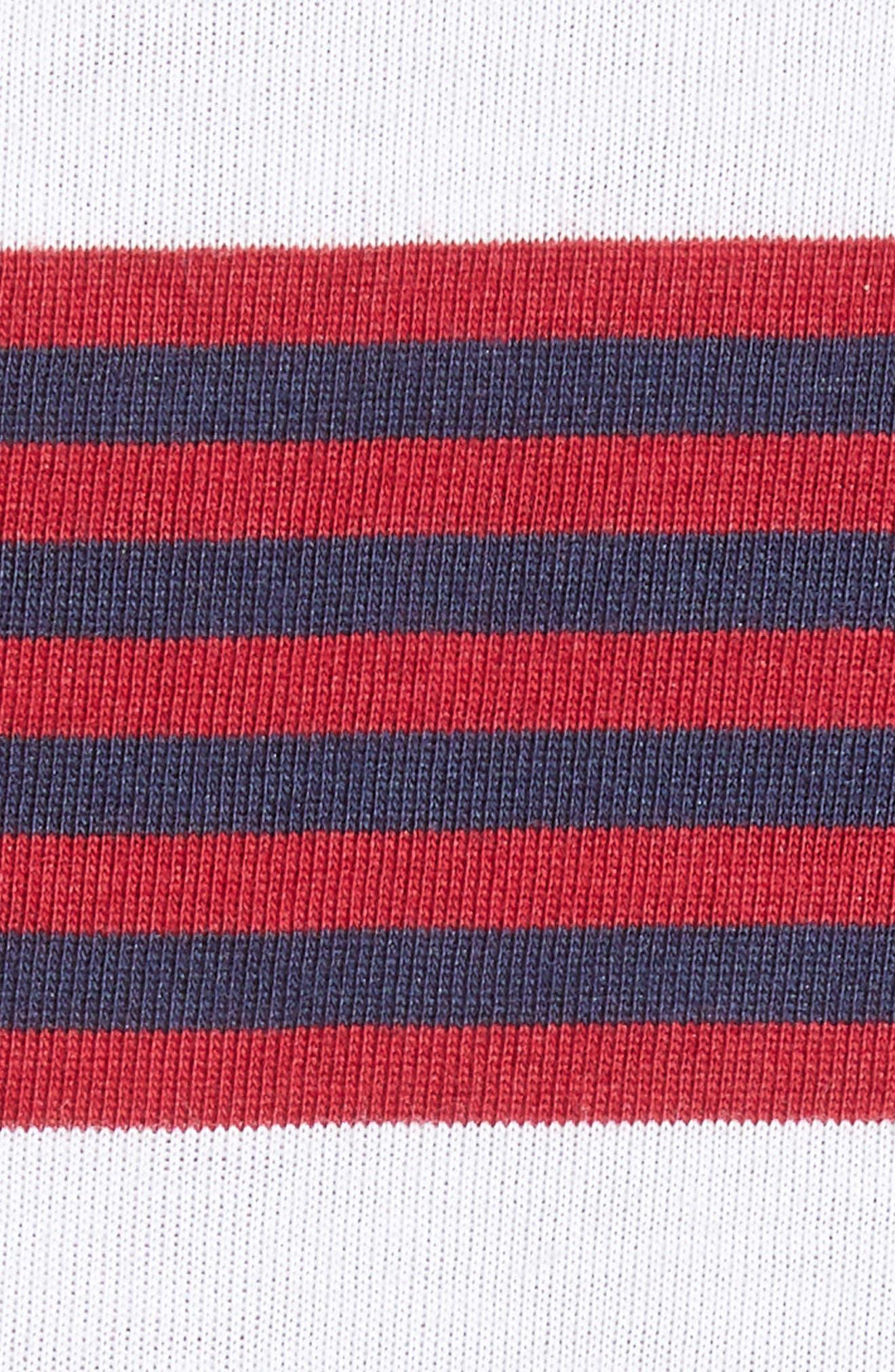 Dry Stripe Long Sleeve T-Shirt,                             Alternate thumbnail 5, color,                             RED CRUSH/ OBSIDIAN