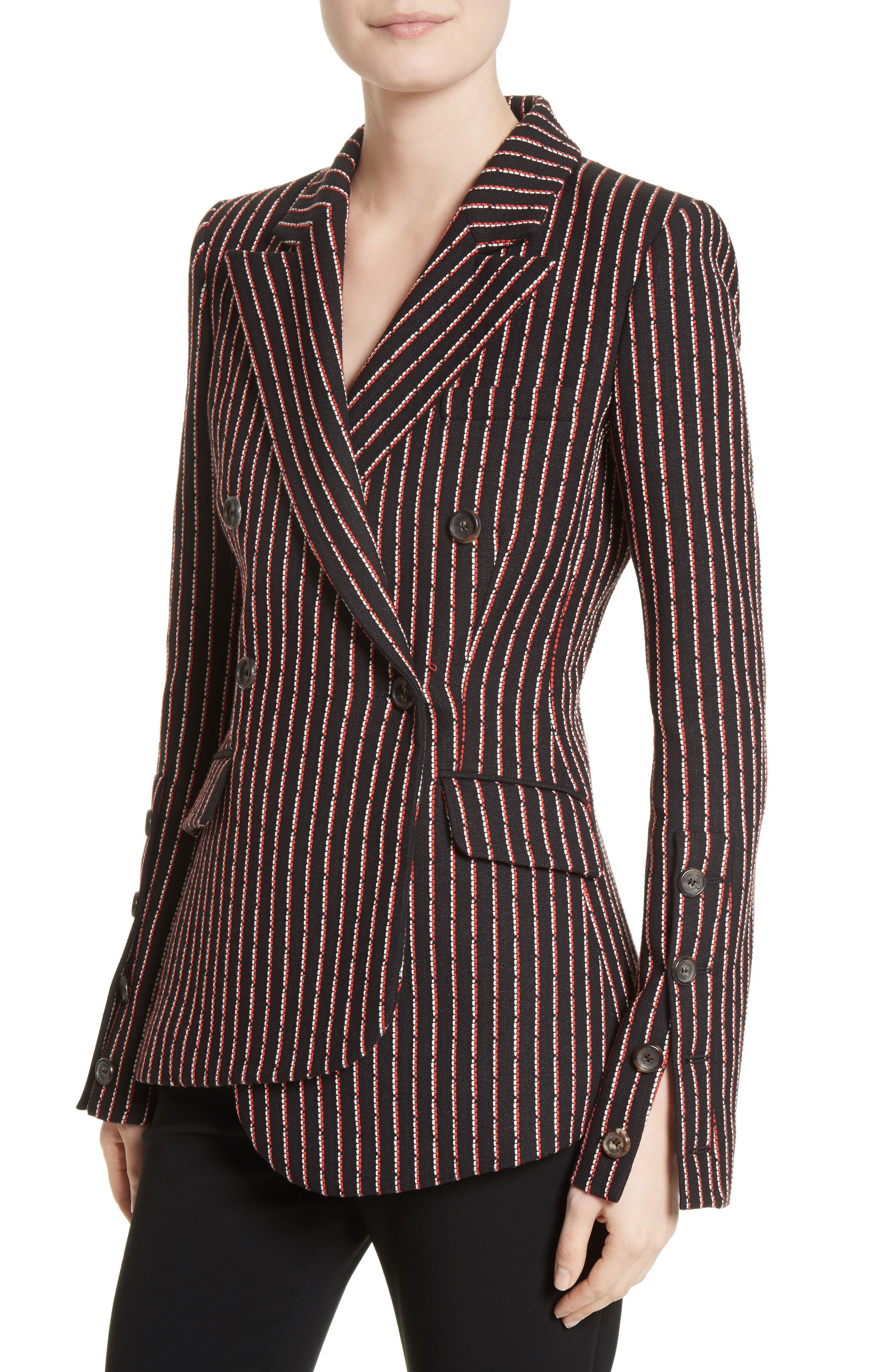 Pinstripe Double Breasted Blazer,                             Alternate thumbnail 4, color,                             001