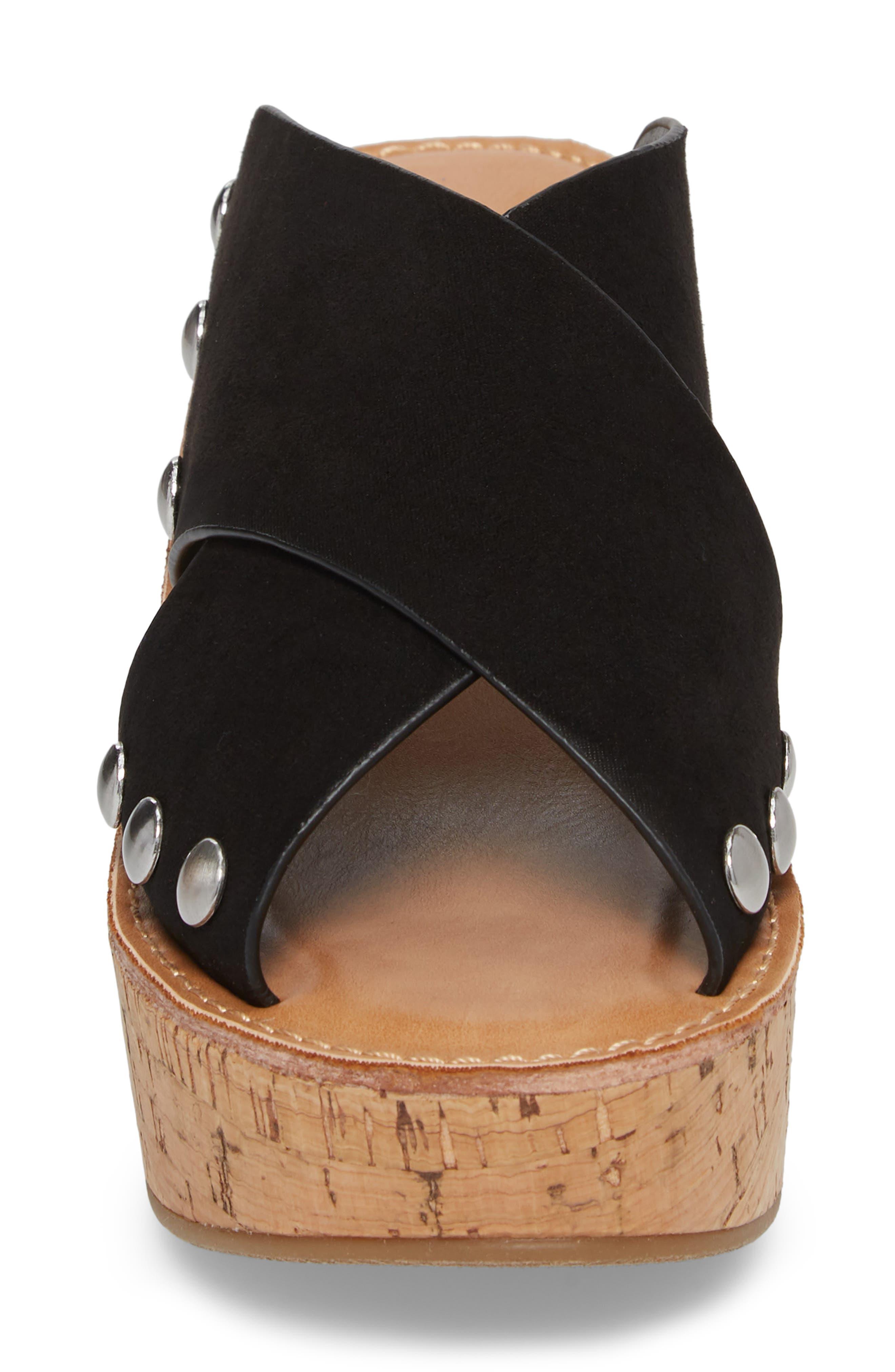 Oahu Platform Wedge Sandal,                             Alternate thumbnail 4, color,                             BLACK
