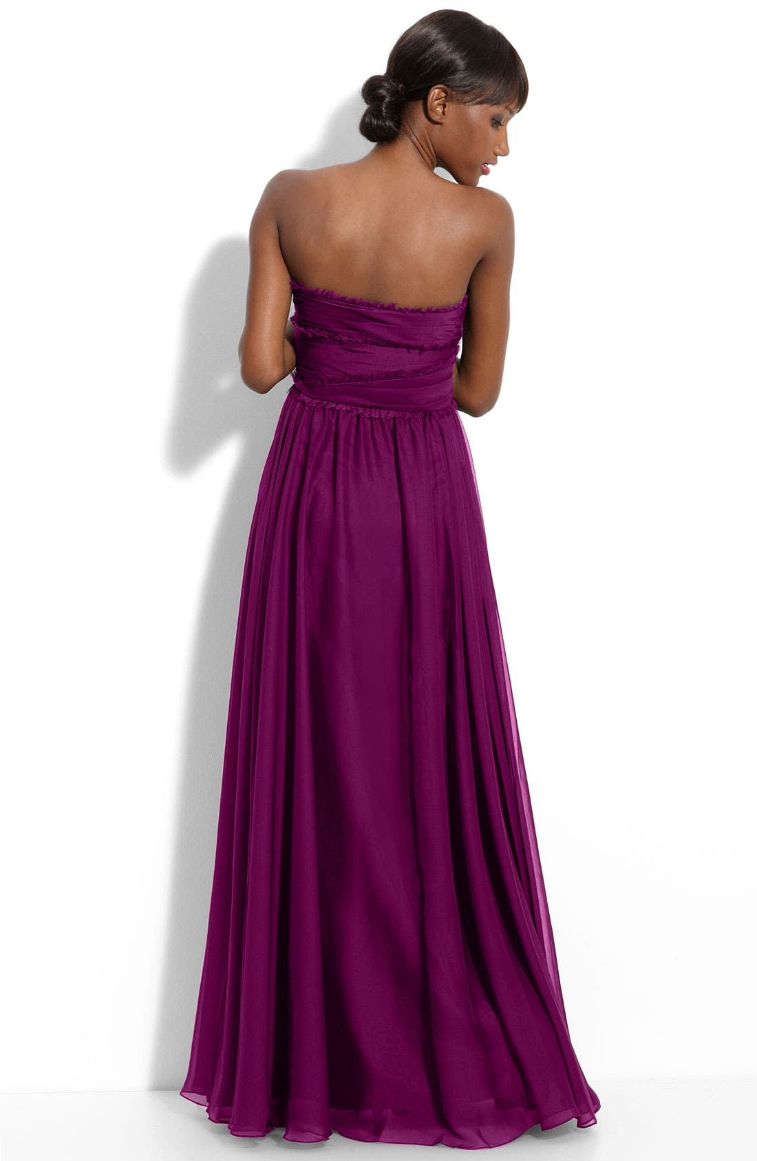 ML Monique Lhuillier Bridesmaids Strapless Chiffon Gown,                             Alternate thumbnail 29, color,