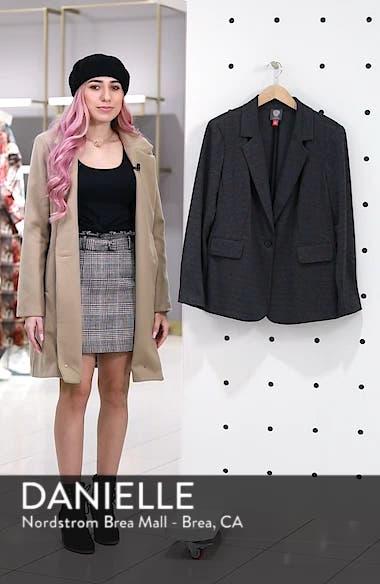 Mélange Herringbone Single Button Blazer, sales video thumbnail