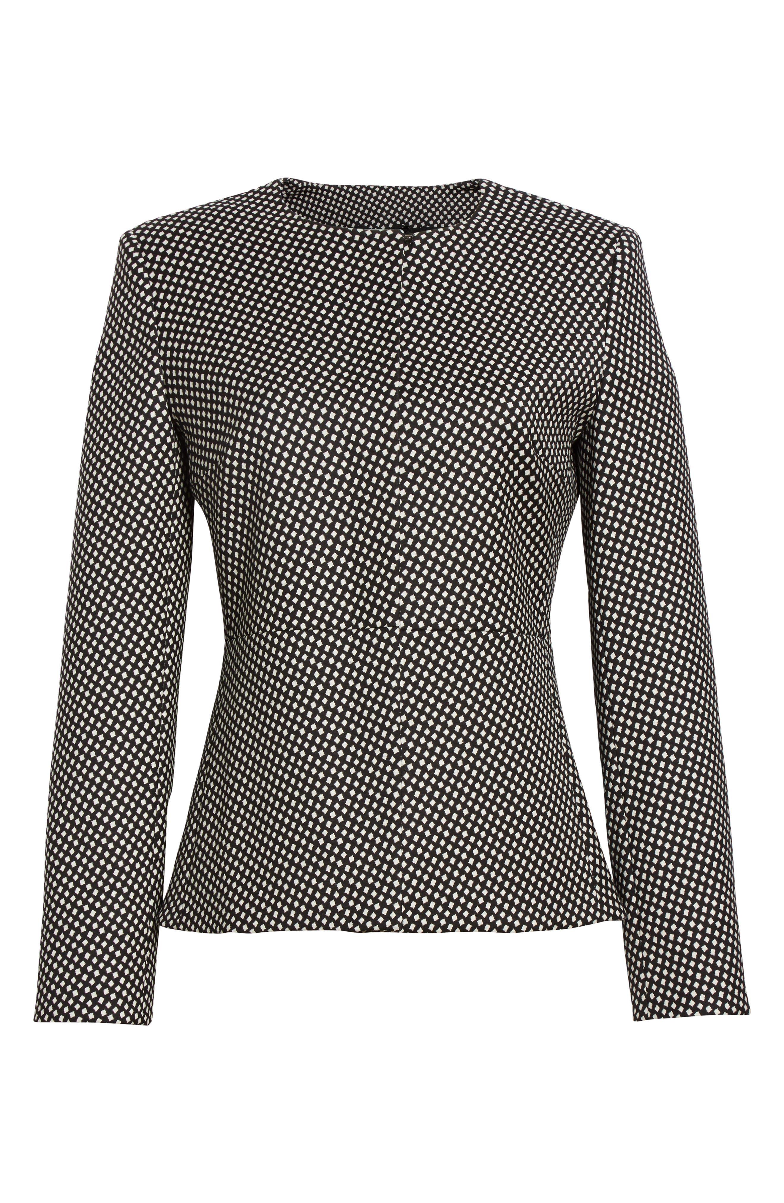 Ajaccio Wool Blend Jacquard Jacket,                             Alternate thumbnail 5, color,                             001