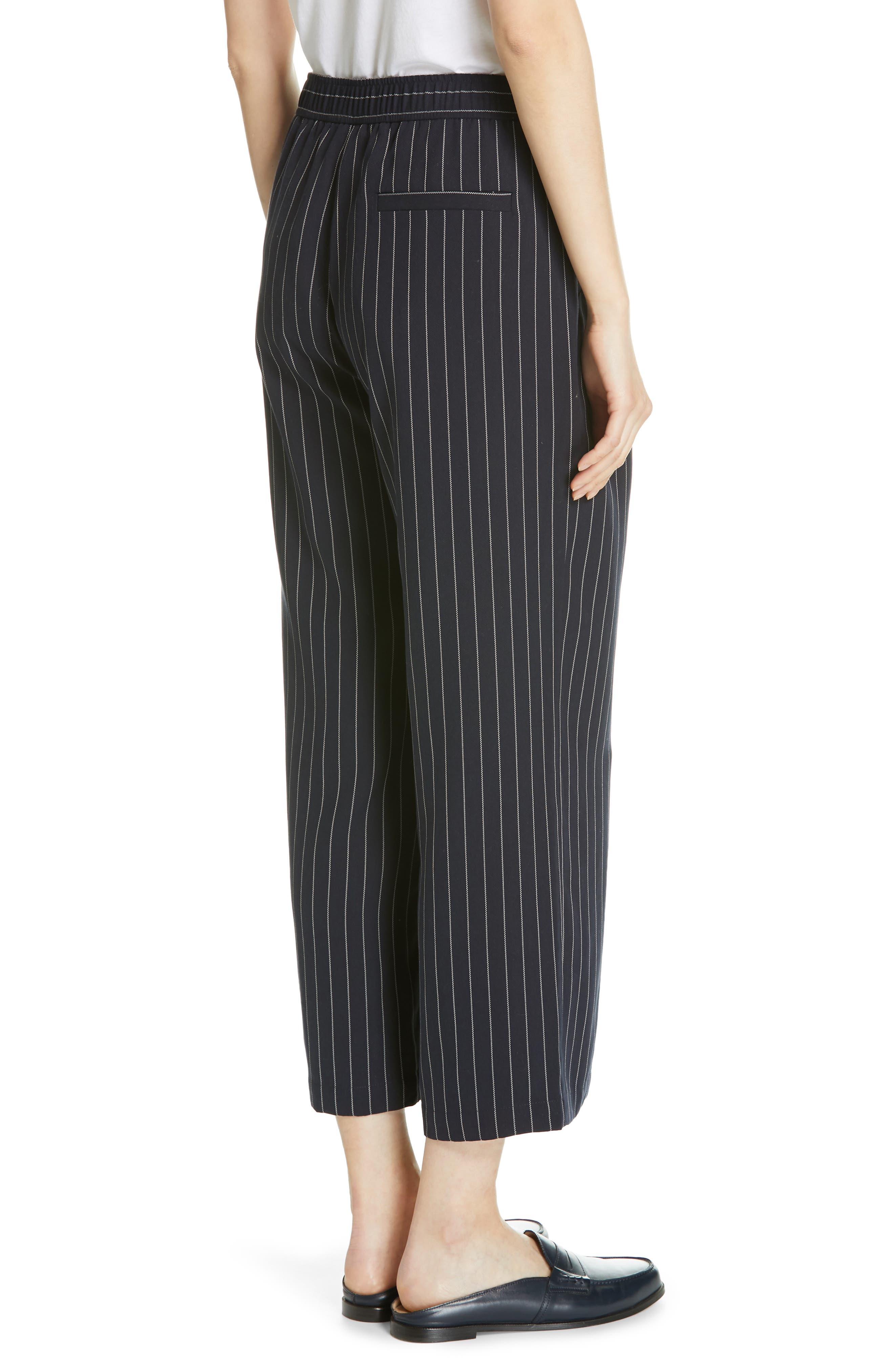 Pinstripe Crop Wide-Leg Pants,                             Alternate thumbnail 2, color,                             INDIGO