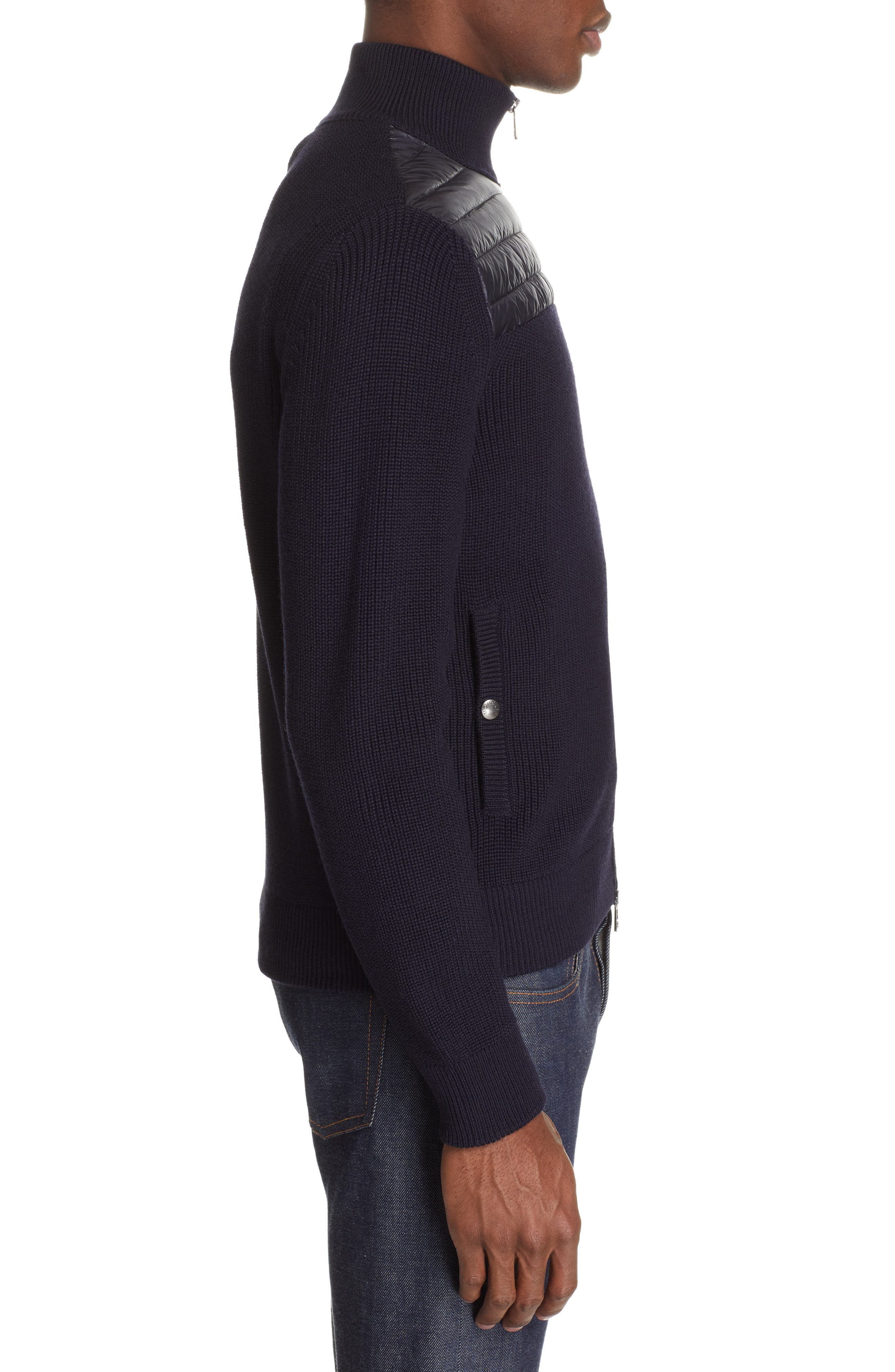 Maglione Knit Jacket with Quilted Yoke,                             Alternate thumbnail 3, color,                             NAVY