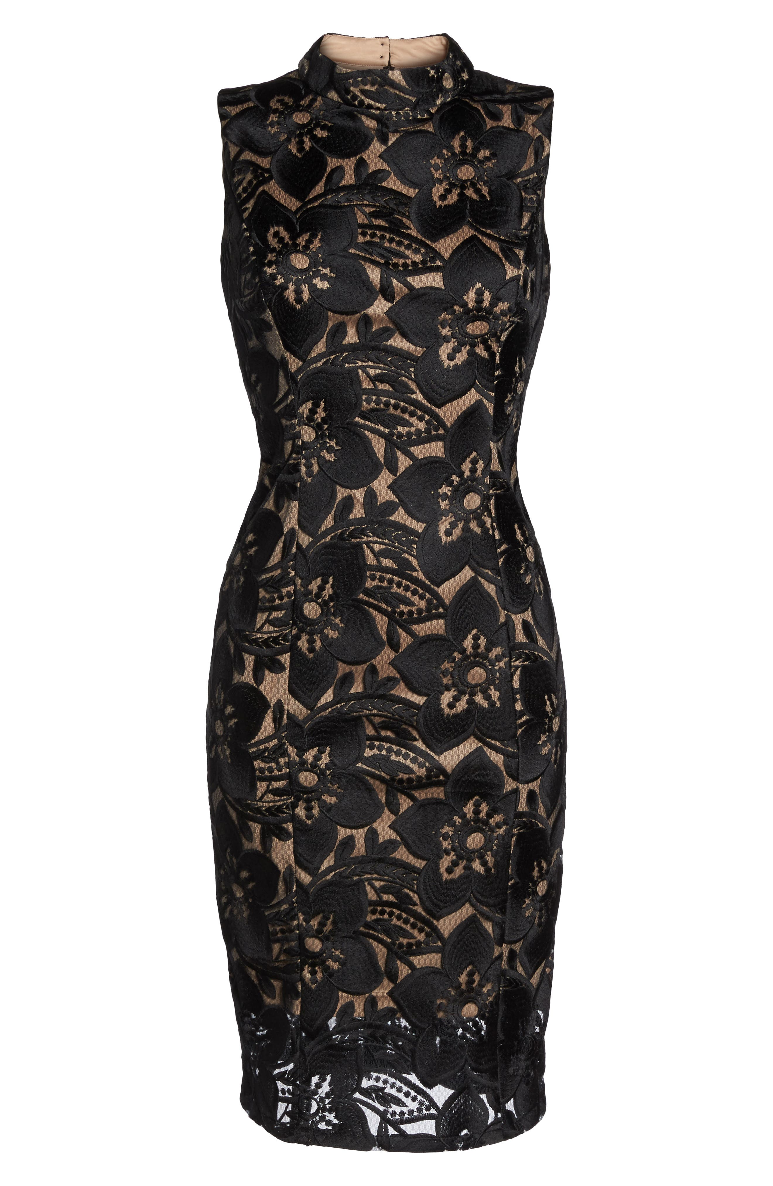 ADRIANNA PAPELL,                             Lace Sheath Dress,                             Alternate thumbnail 6, color,                             002