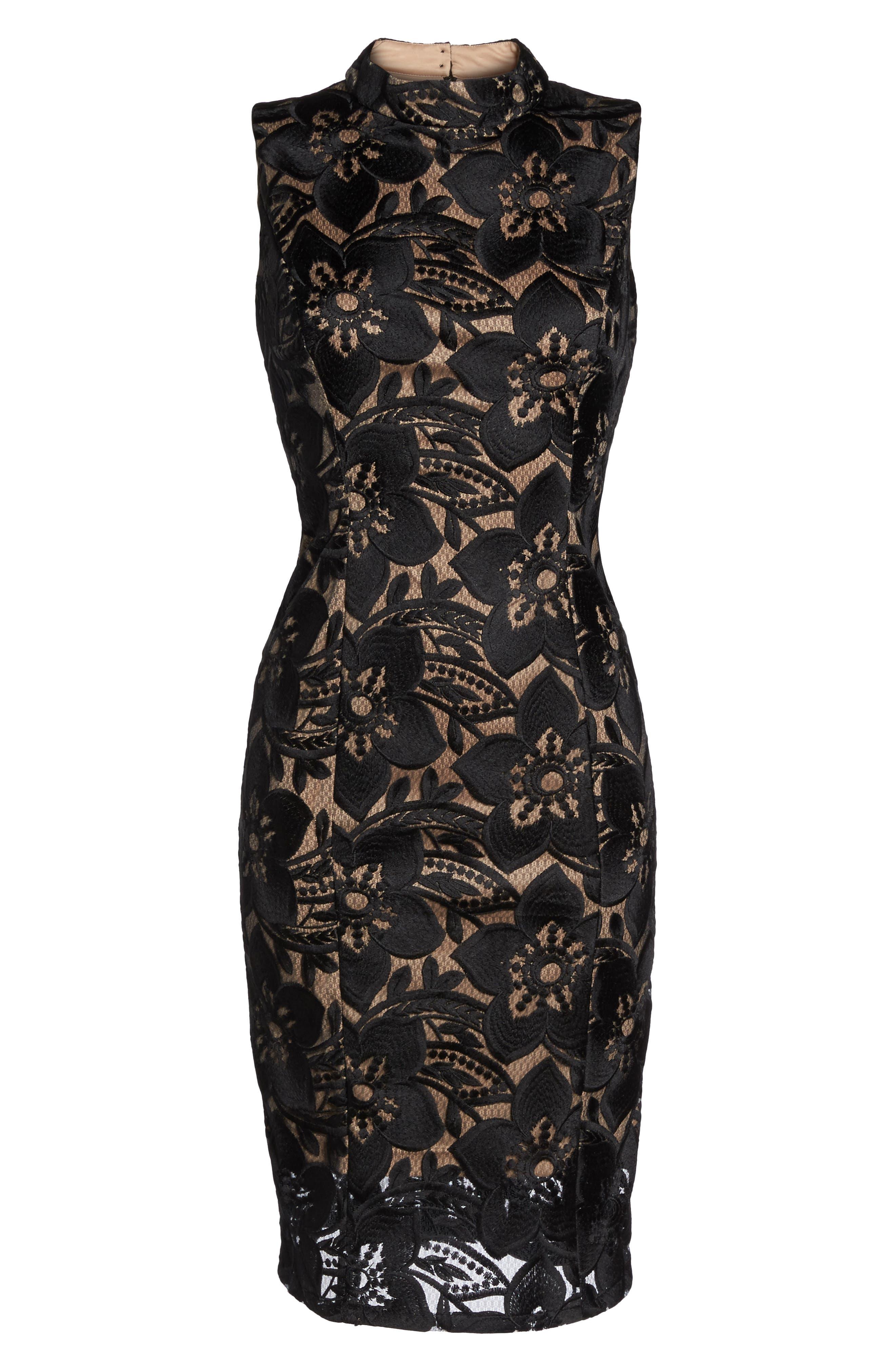 Lace Sheath Dress,                             Alternate thumbnail 6, color,                             002