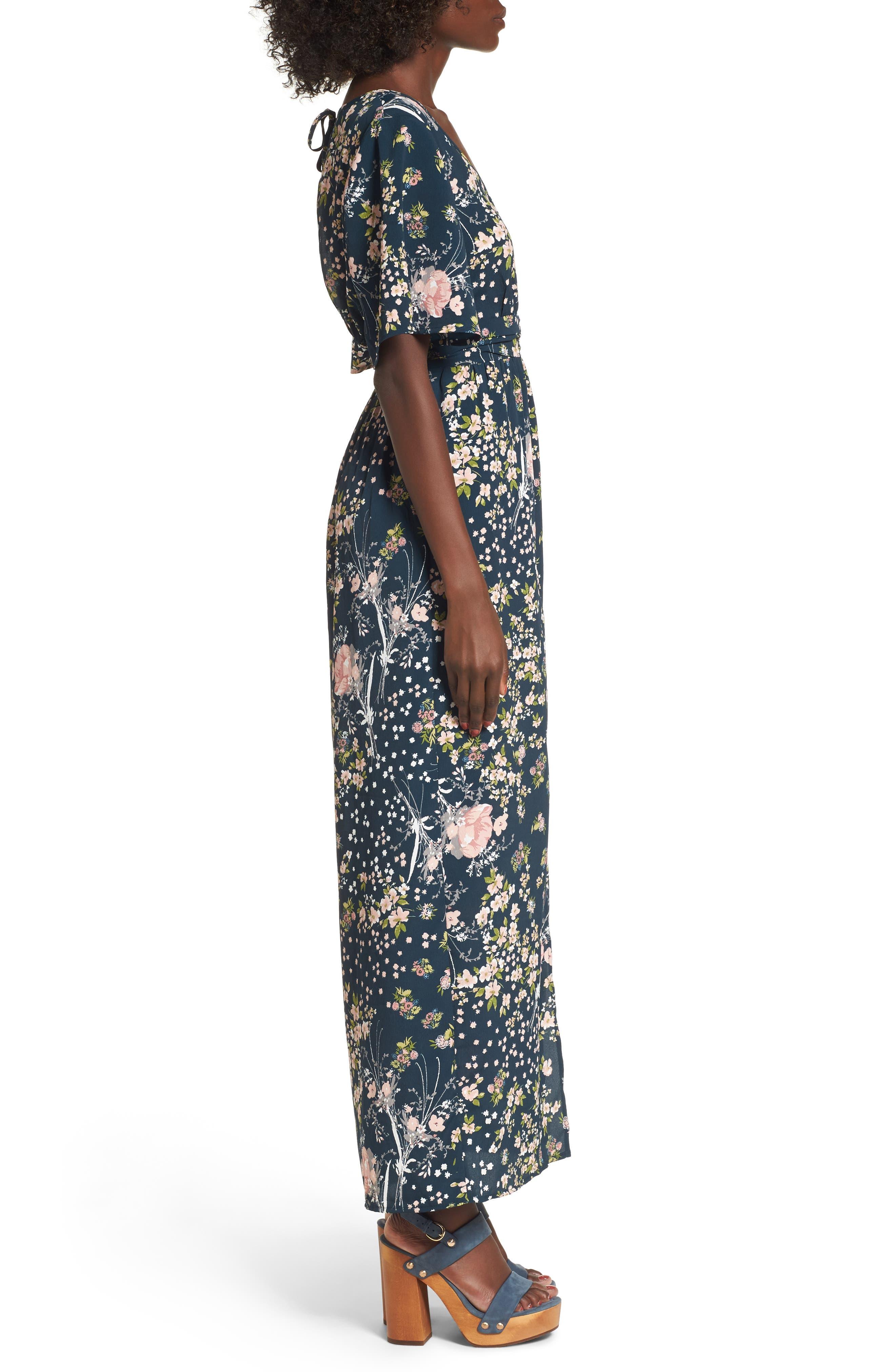 Moody Floral Print Maxi Romper,                             Alternate thumbnail 3, color,