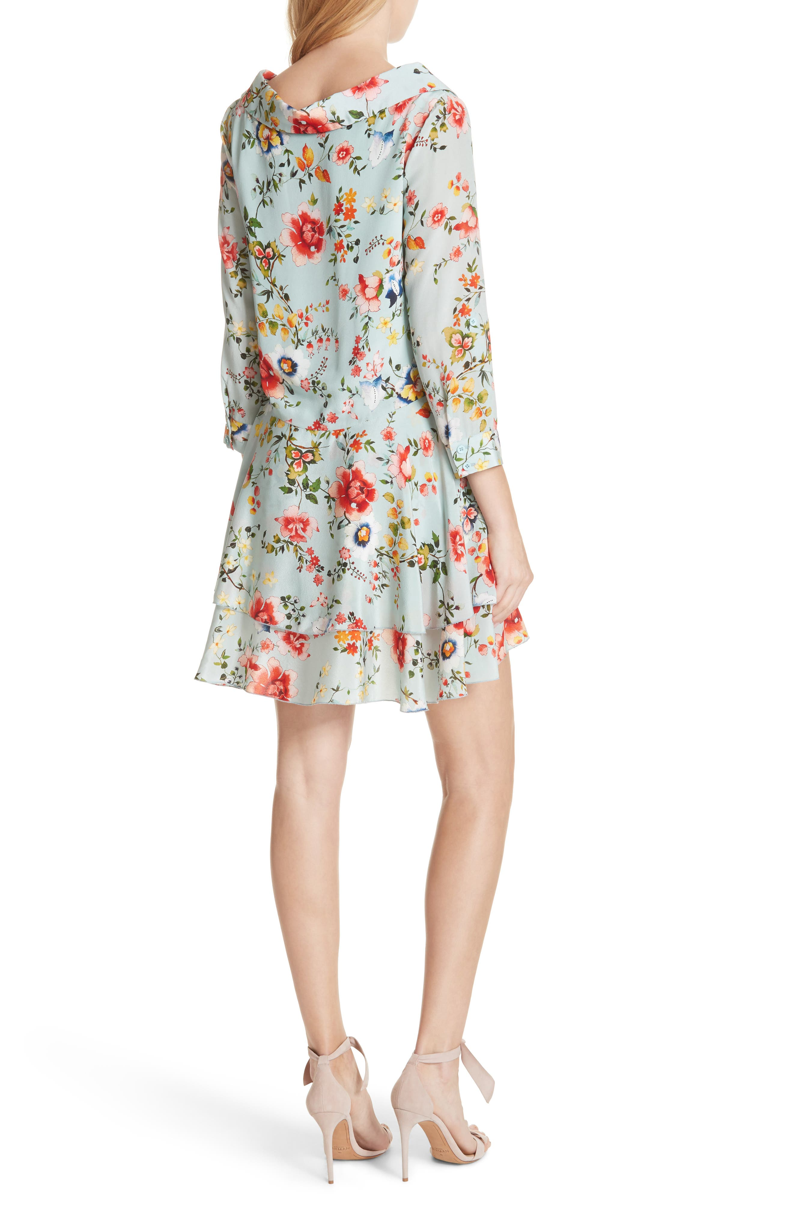 Moore Floral Silk Tunic Dress,                             Alternate thumbnail 2, color,