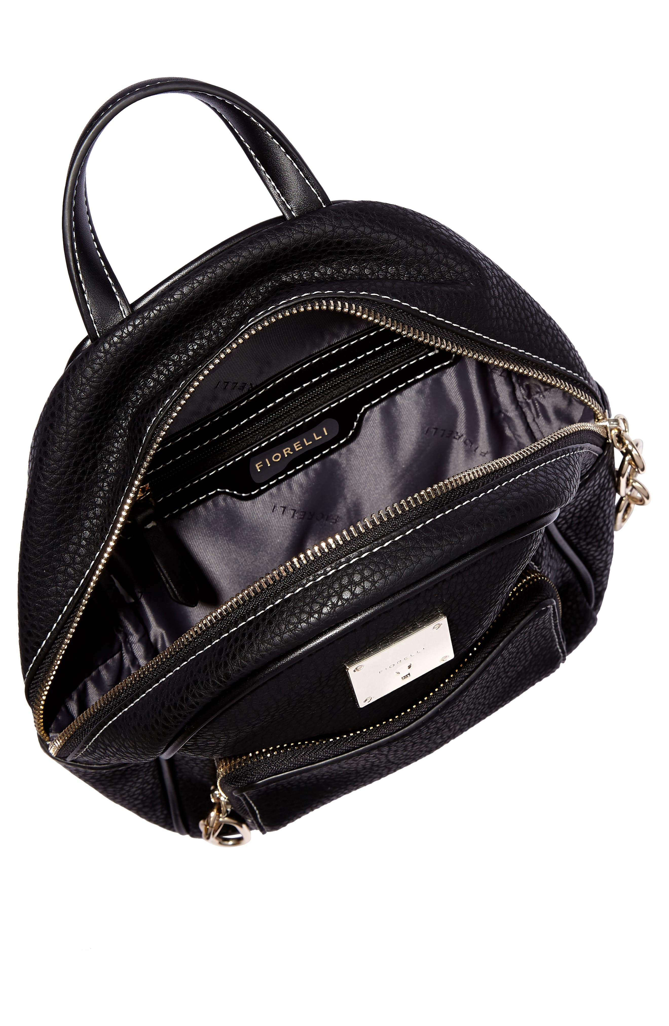 Mini Convertible Faux Leather Backpack,                             Alternate thumbnail 4, color,                             001