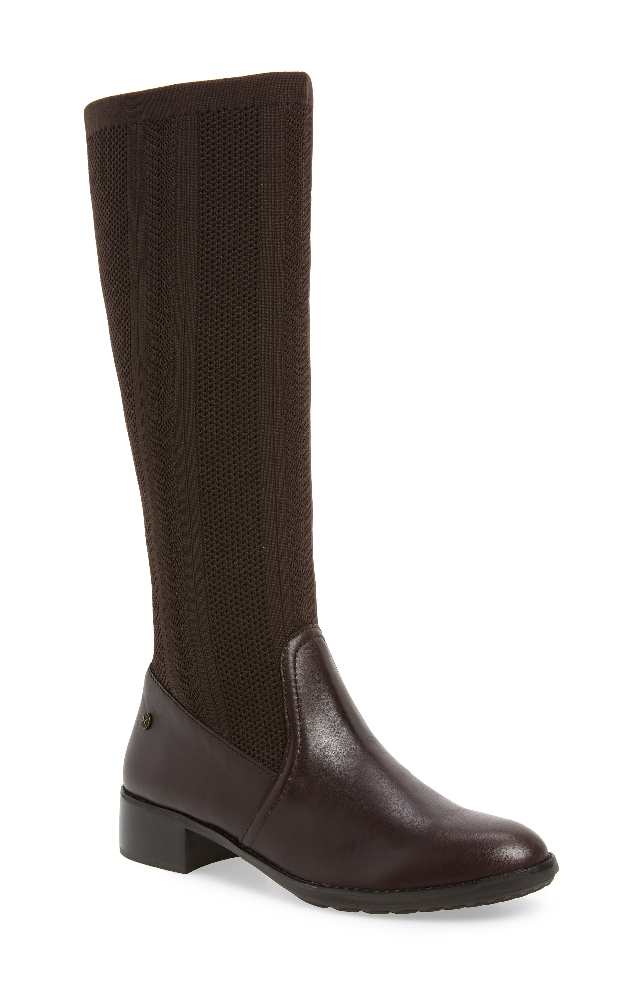 Aetrex Belle Sock-Knit Shaft Boot, Brown