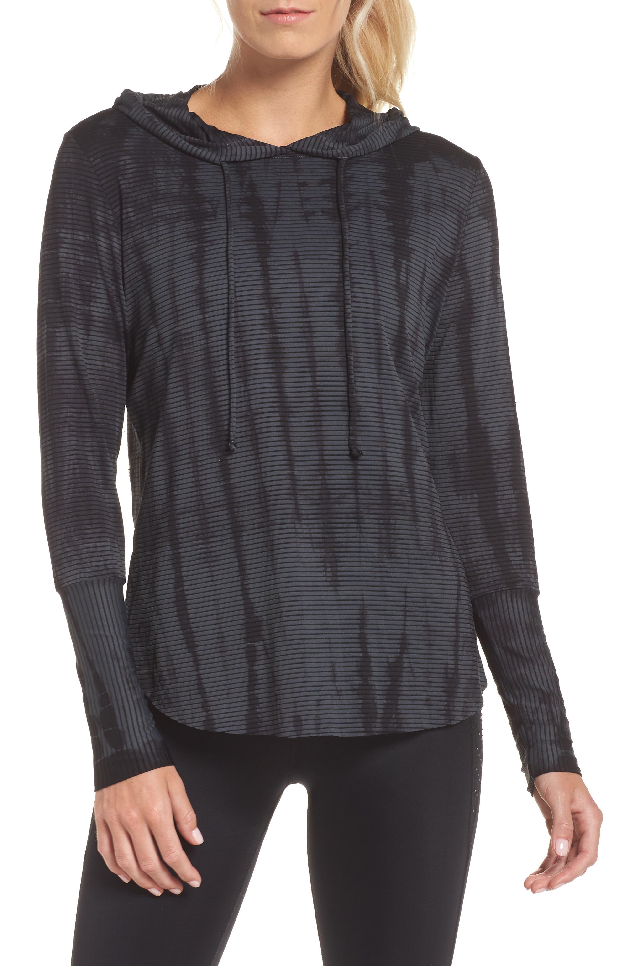 Waves Tie Dye Gray Hooded Pullover,                             Main thumbnail 1, color,                             DARK GREY