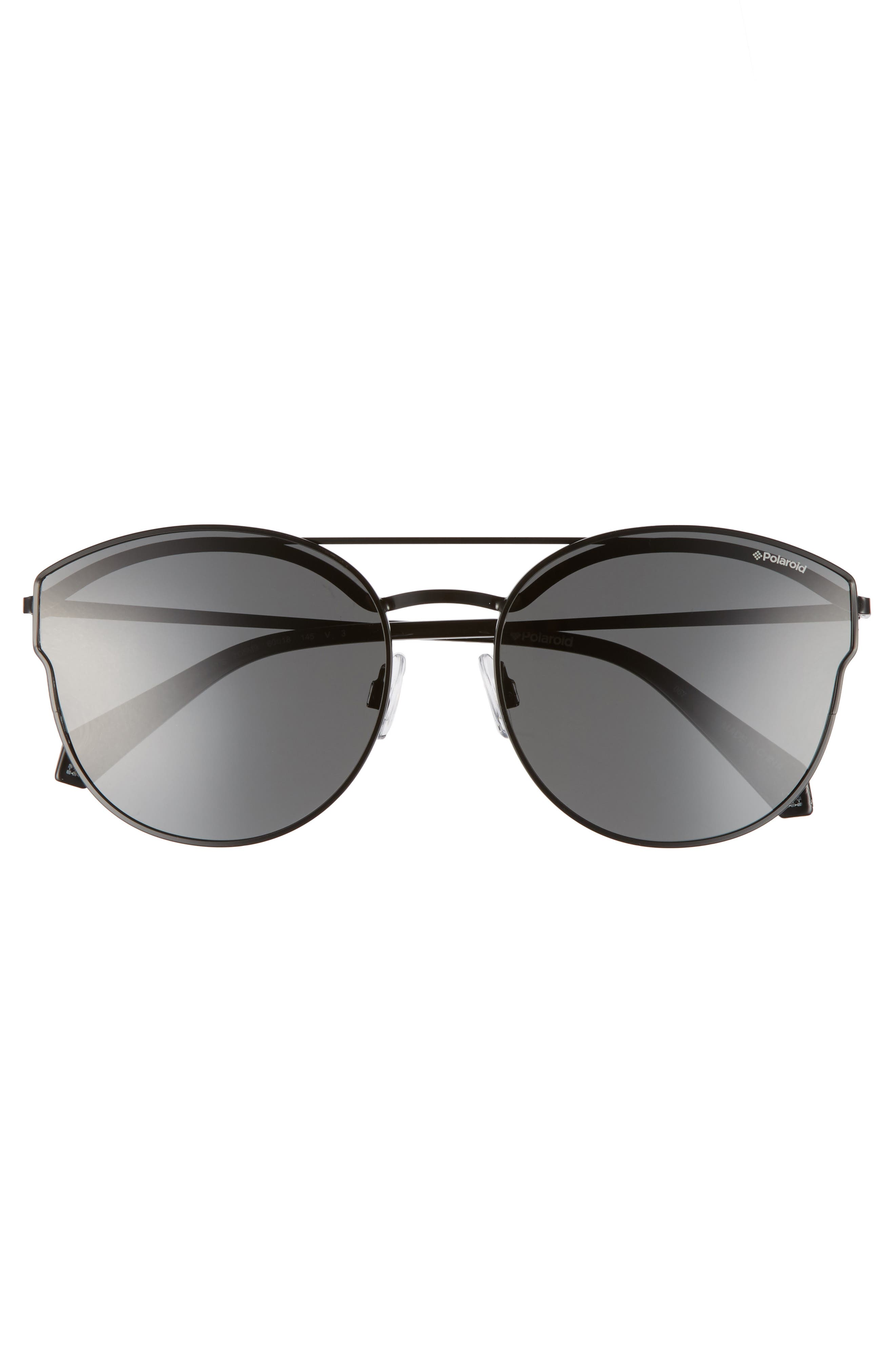 60mm Polarized Round Aviator Sunglasses,                             Alternate thumbnail 3, color,                             001