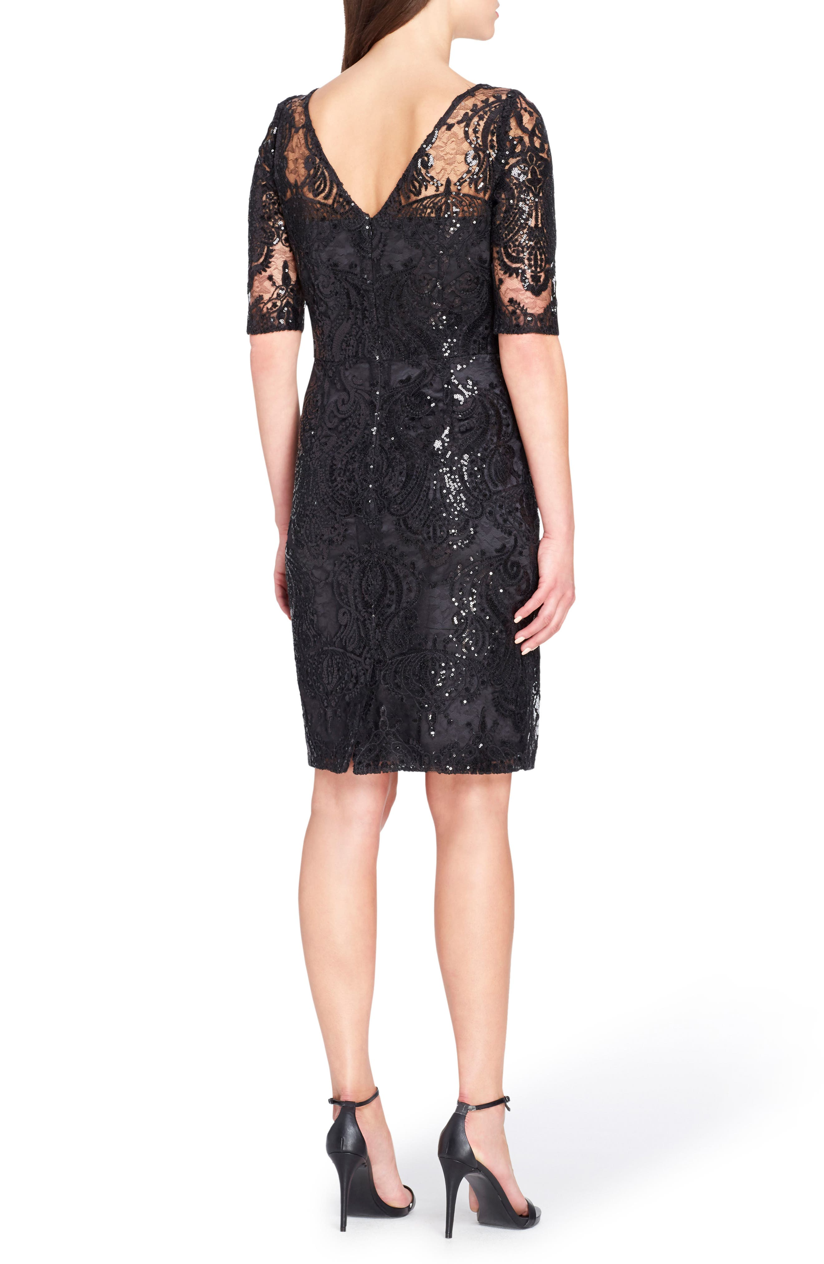 Sequin Illusion Sheath Dress,                             Alternate thumbnail 3, color,