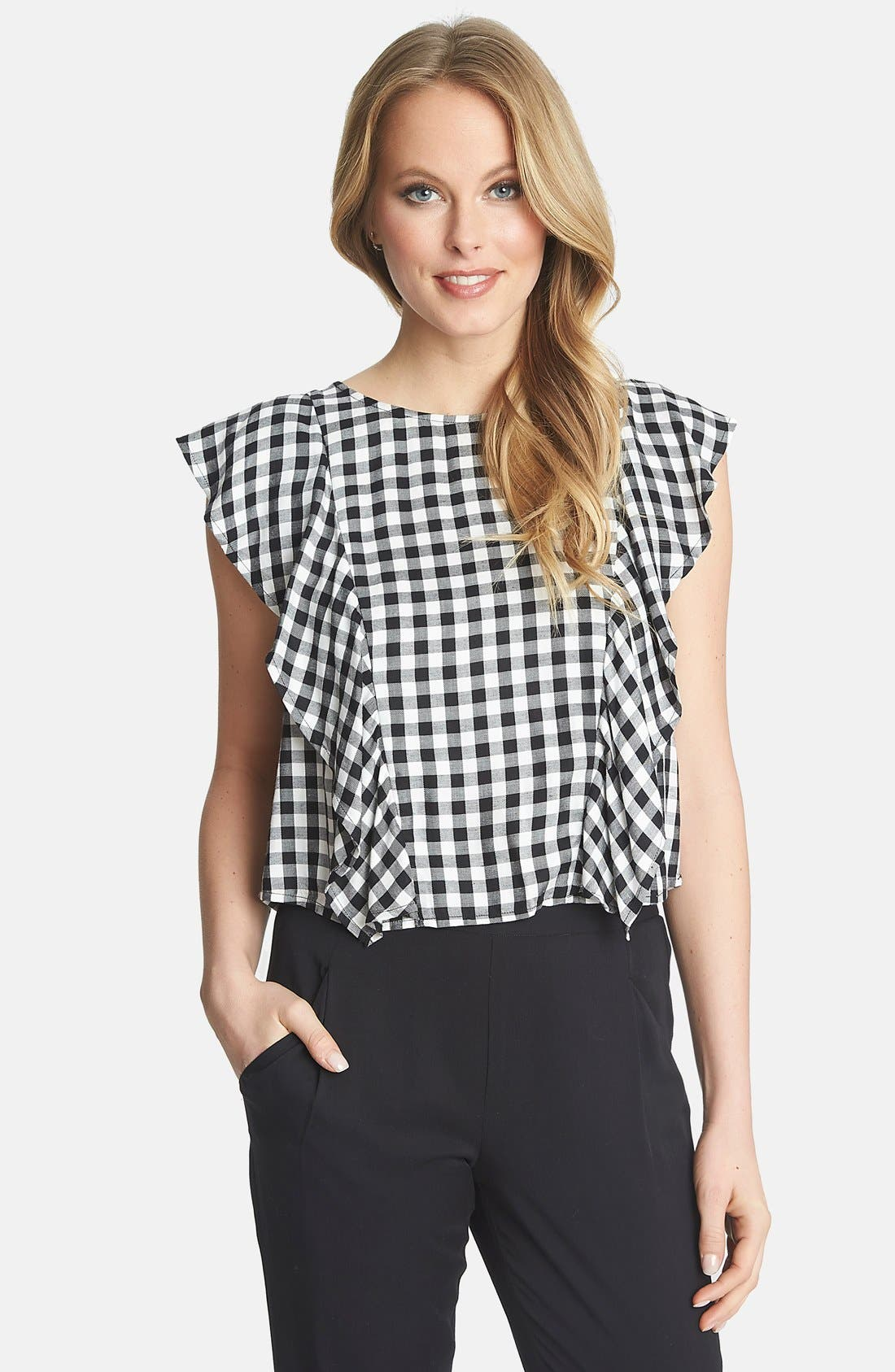 1.STATE,                             Ruffle Gingham Blouse,                             Main thumbnail 1, color,                             010