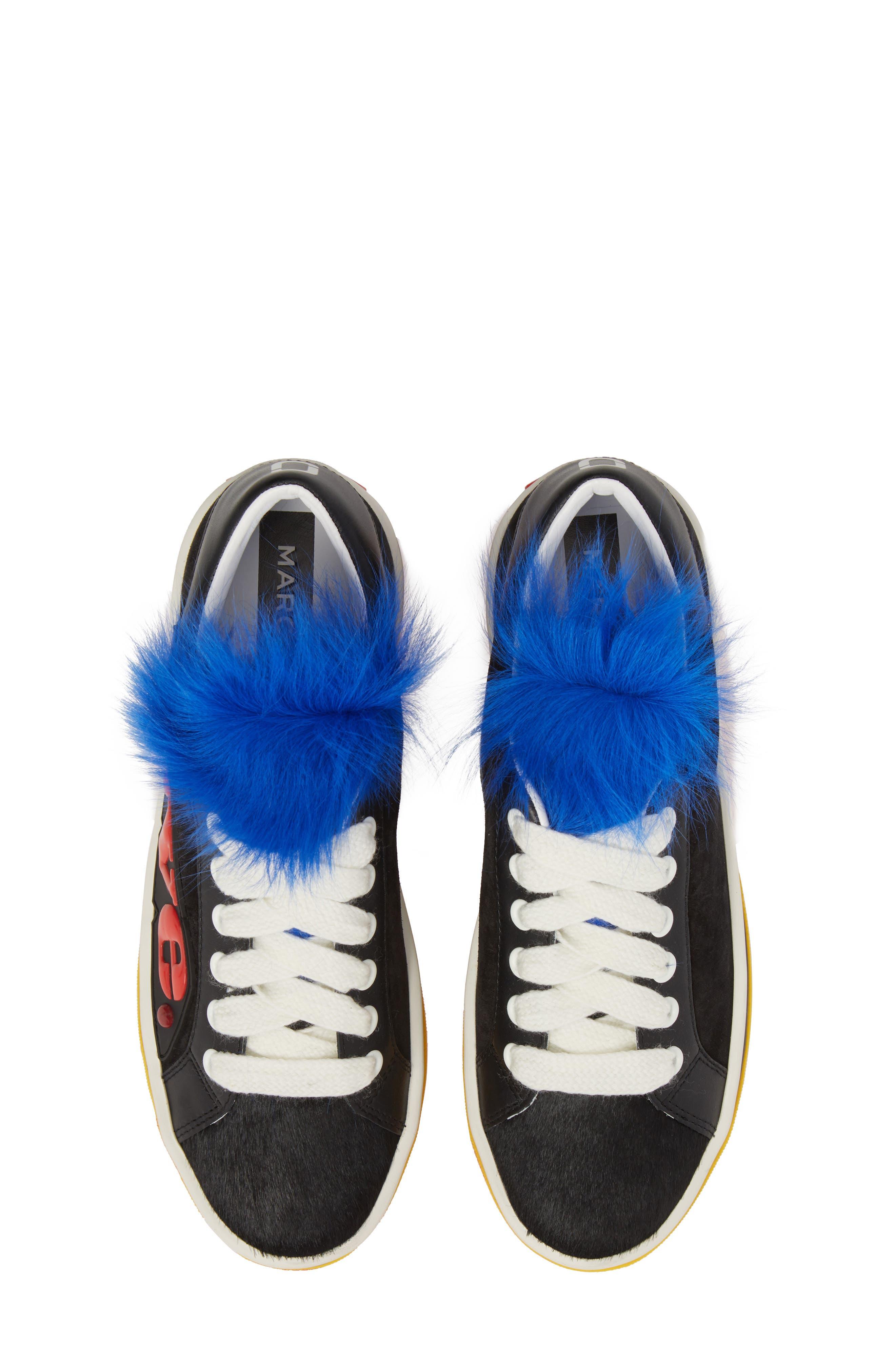 Empire Love Genuine Shearling & Calf Hair Trim Sneaker,                         Main,                         color, BLACK MULTI