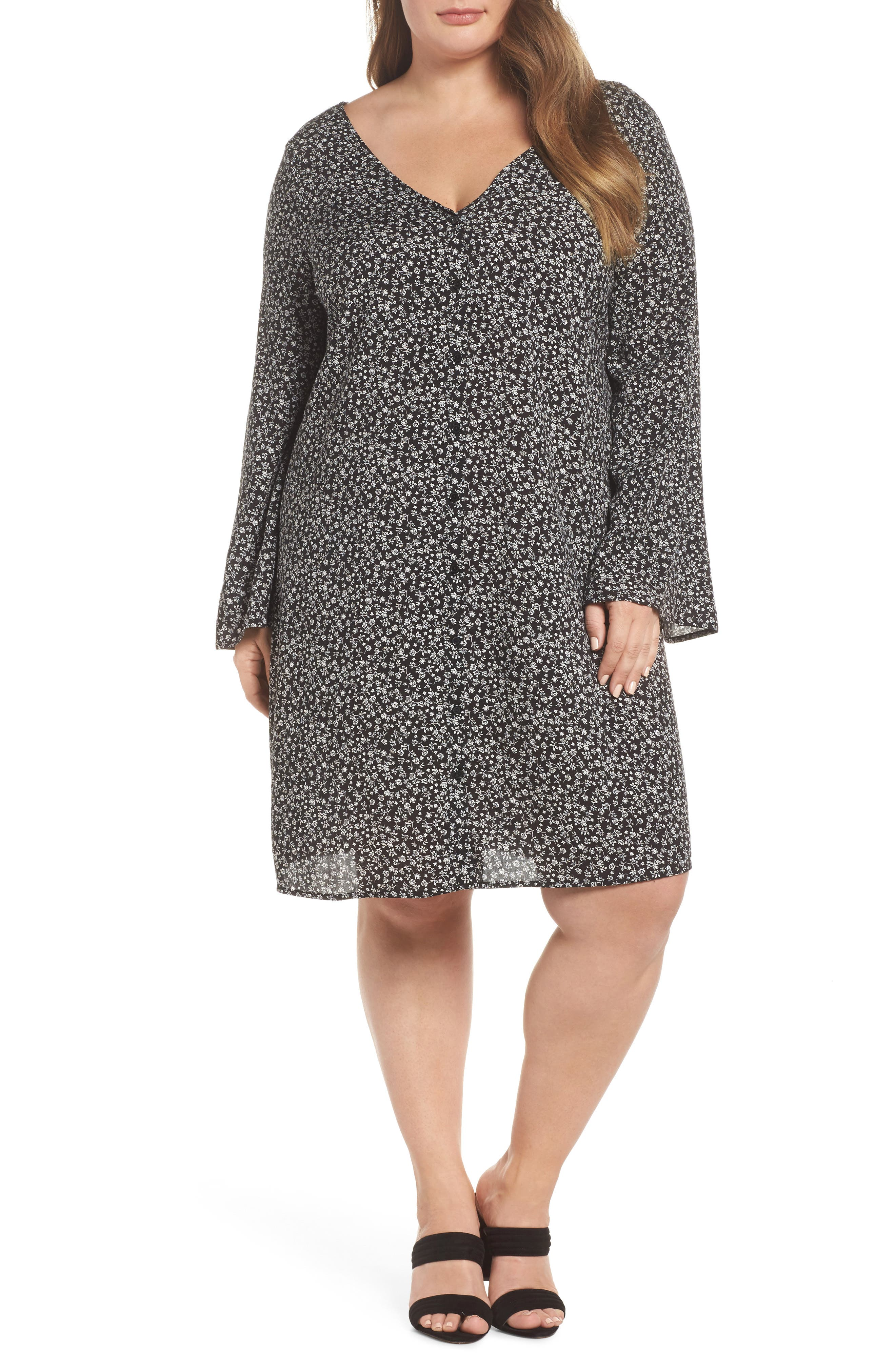 Double V-Neck Print Shift Dress,                         Main,                         color,