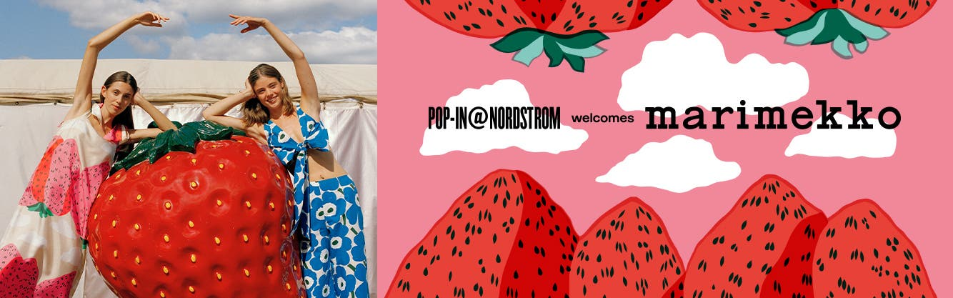 Woman in a strawberry print dress and woman in a poppy print top and pants.