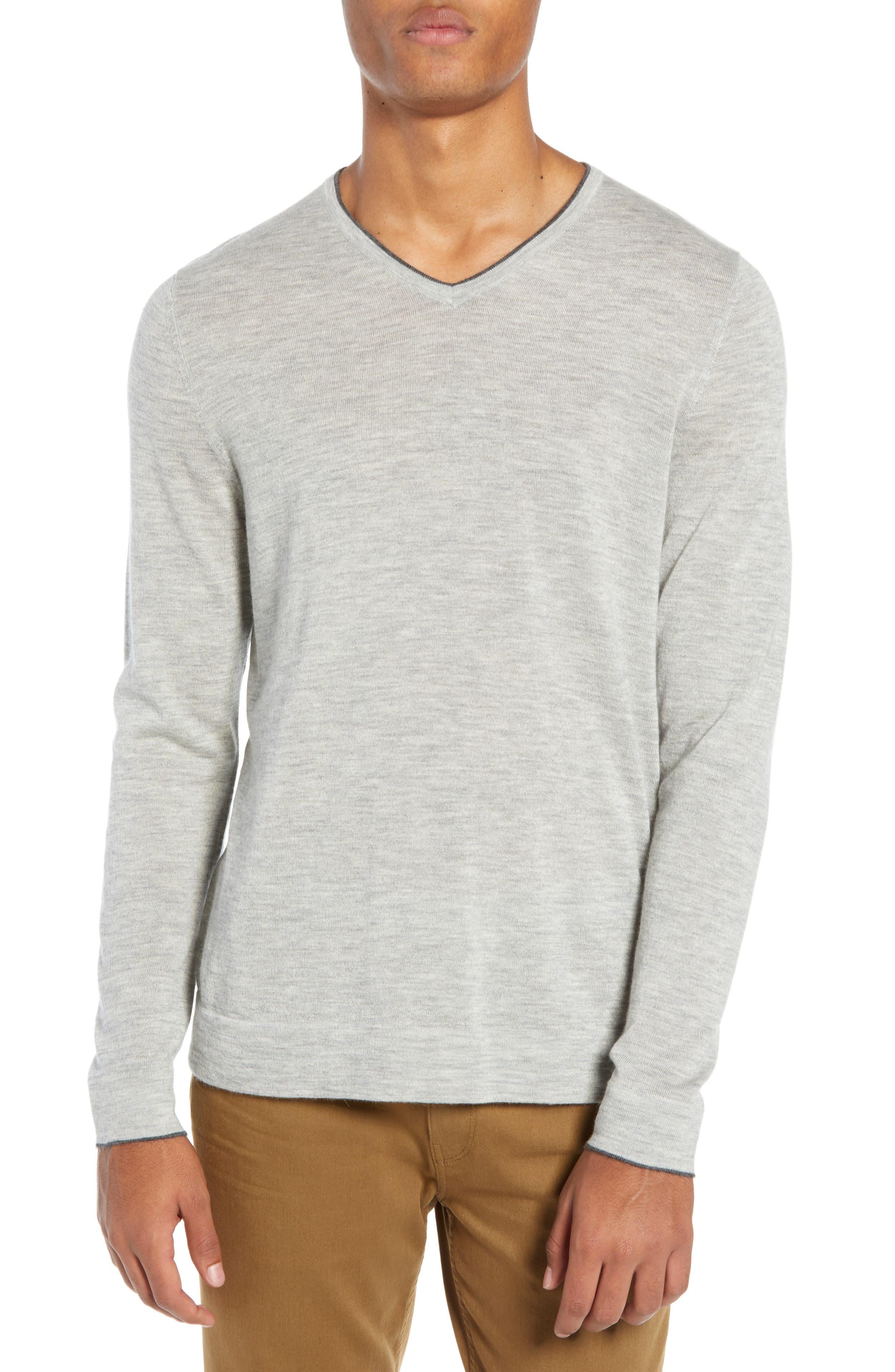NORDSTROM SIGNATURE,                             Cashmere V-Neck Sweater,                             Main thumbnail 1, color,                             050