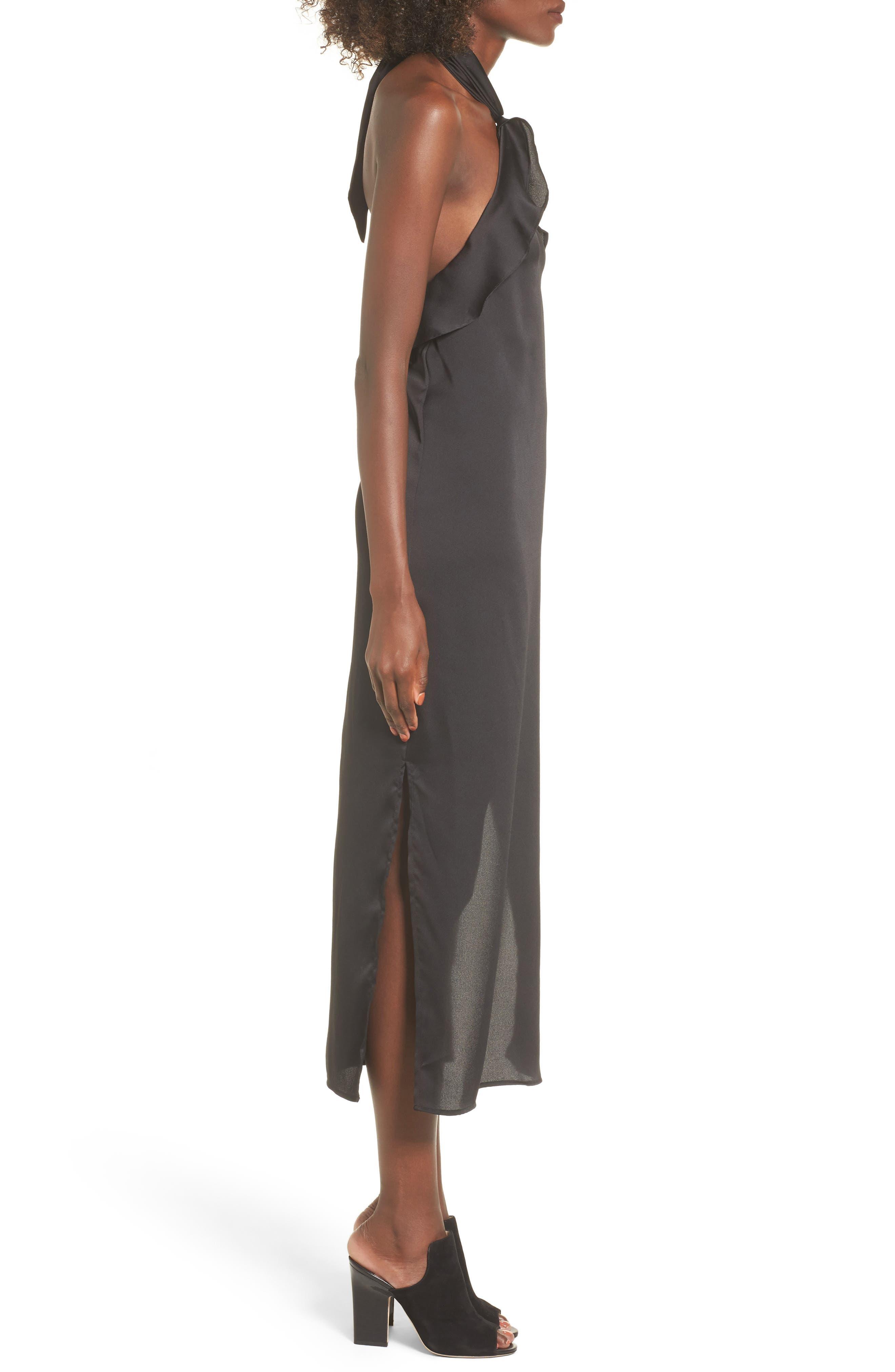Lola Ruffle Halter Dress,                             Alternate thumbnail 3, color,                             001