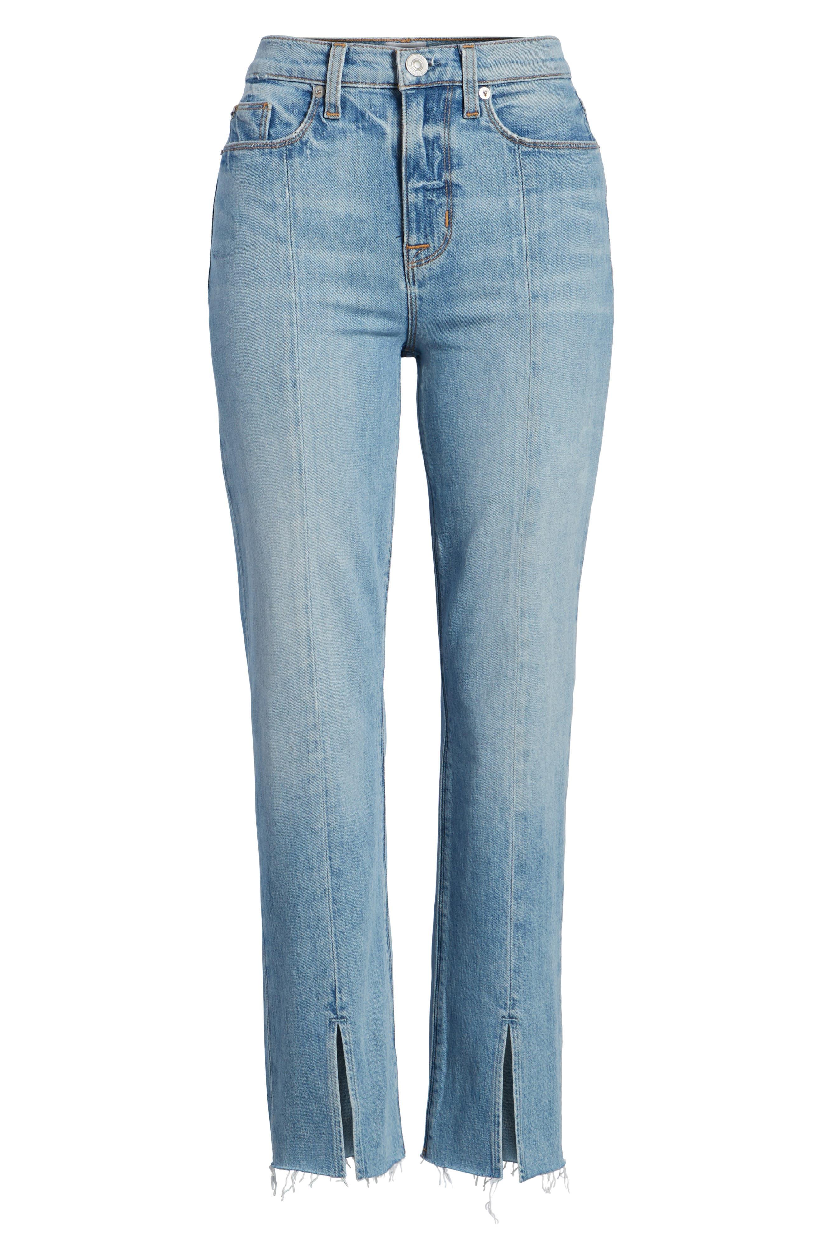 Zoeey Crop Split Hem Straight Leg Jeans,                             Alternate thumbnail 7, color,                             421