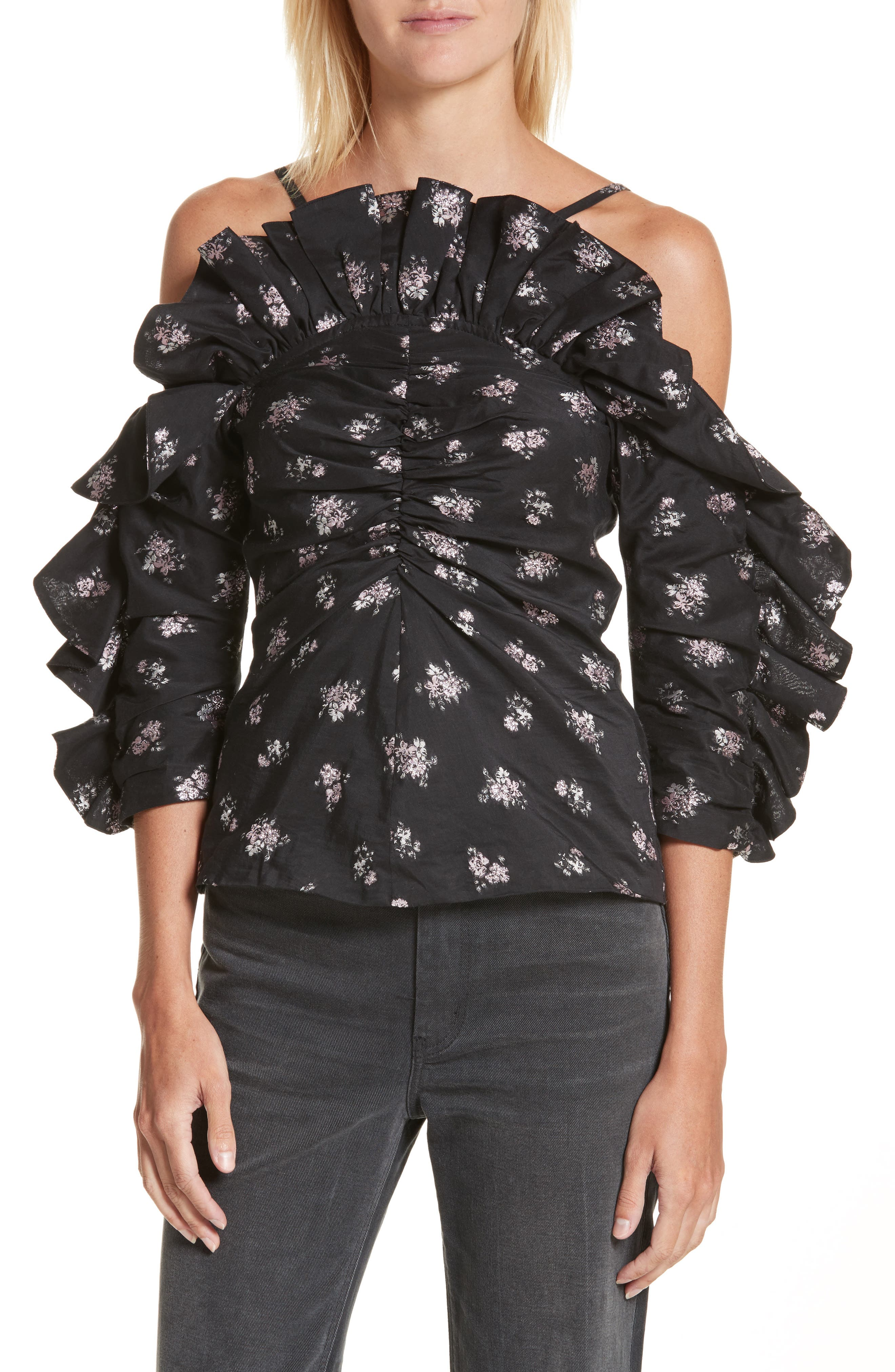 Off the Shoulder Floral Ruffle Top,                             Main thumbnail 1, color,                             001
