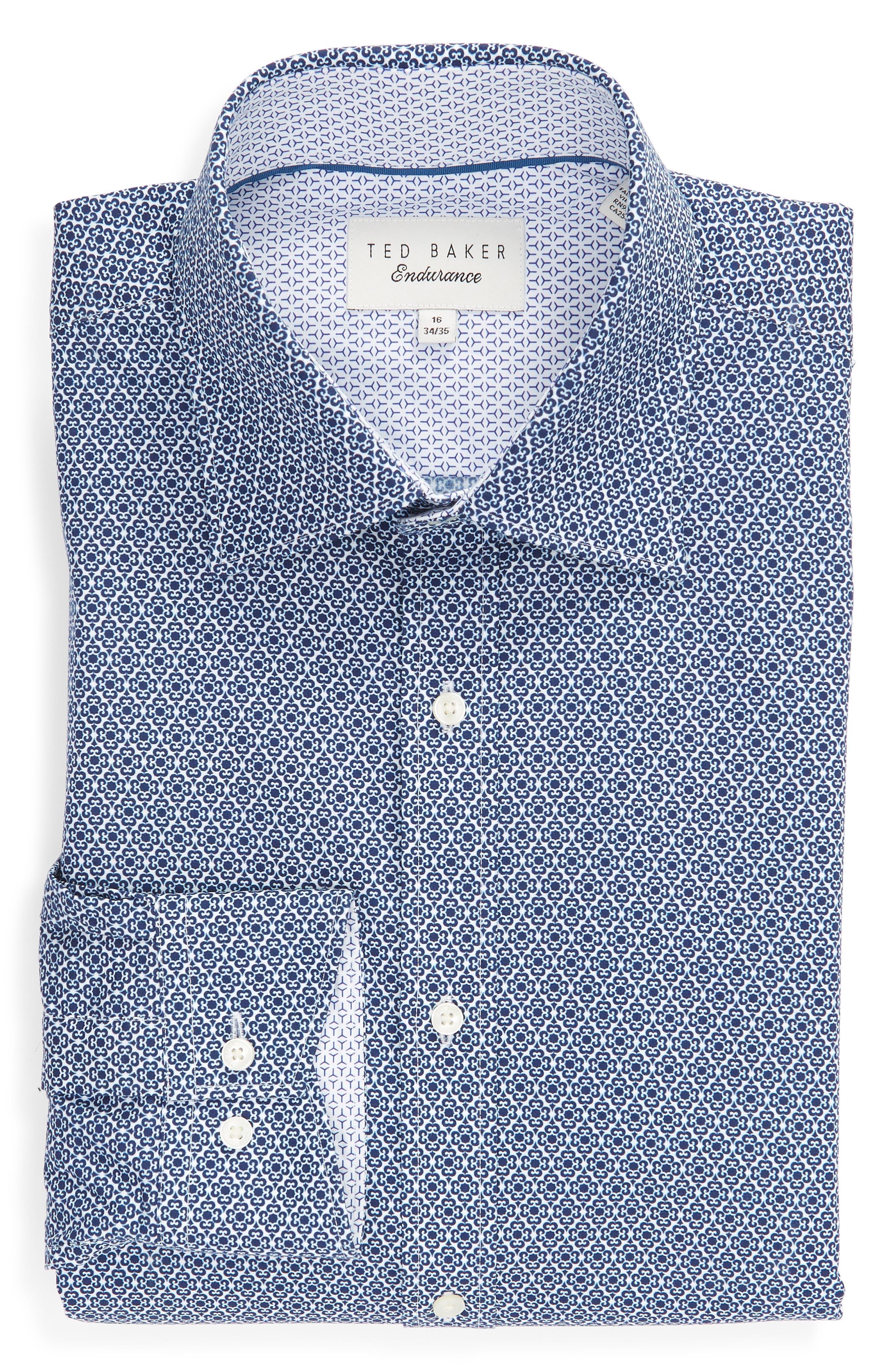 Slestmi Slim Fit Print Dress Shirt,                             Alternate thumbnail 5, color,                             BLUE