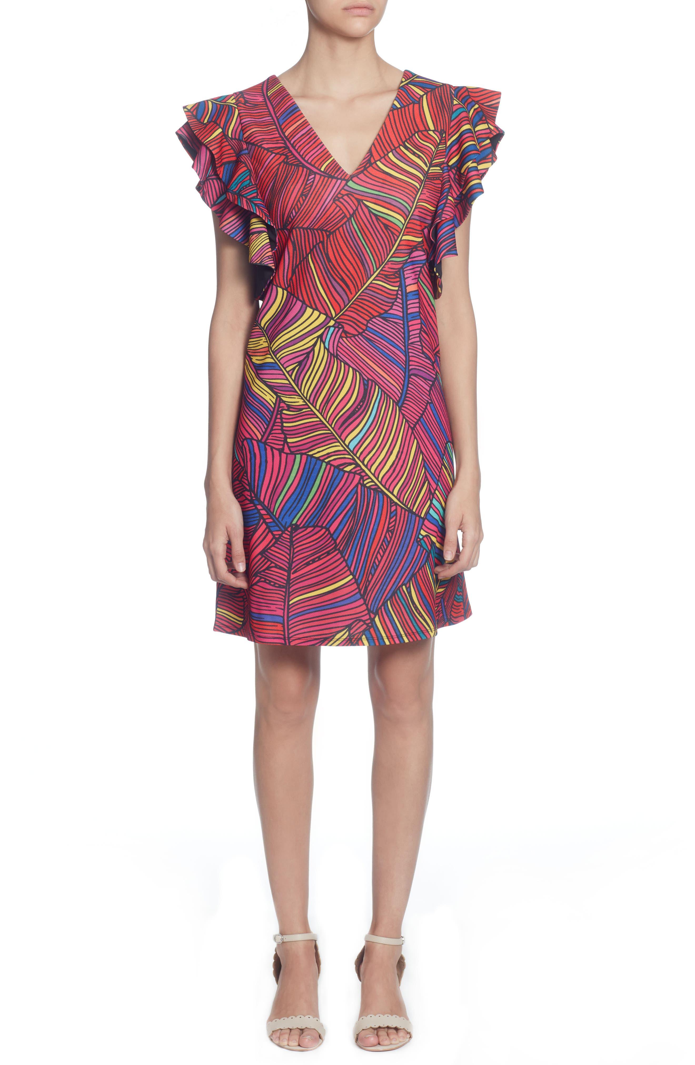 Catherine Catherine Malandrino Sandrine Colorful Palm Print Dress, Red
