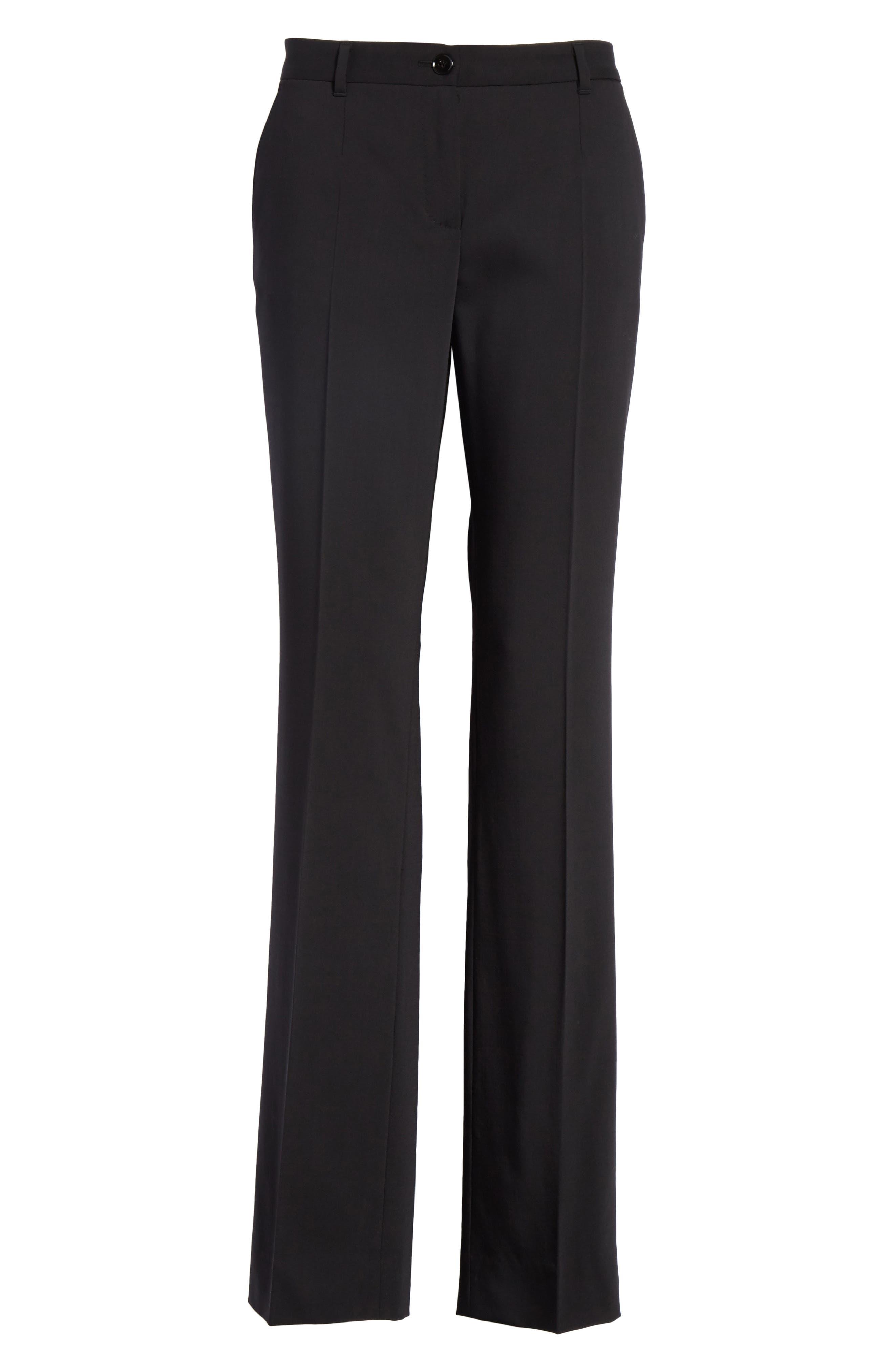 Straight Leg Stretch Wool Trousers,                             Alternate thumbnail 8, color,                             BLACK