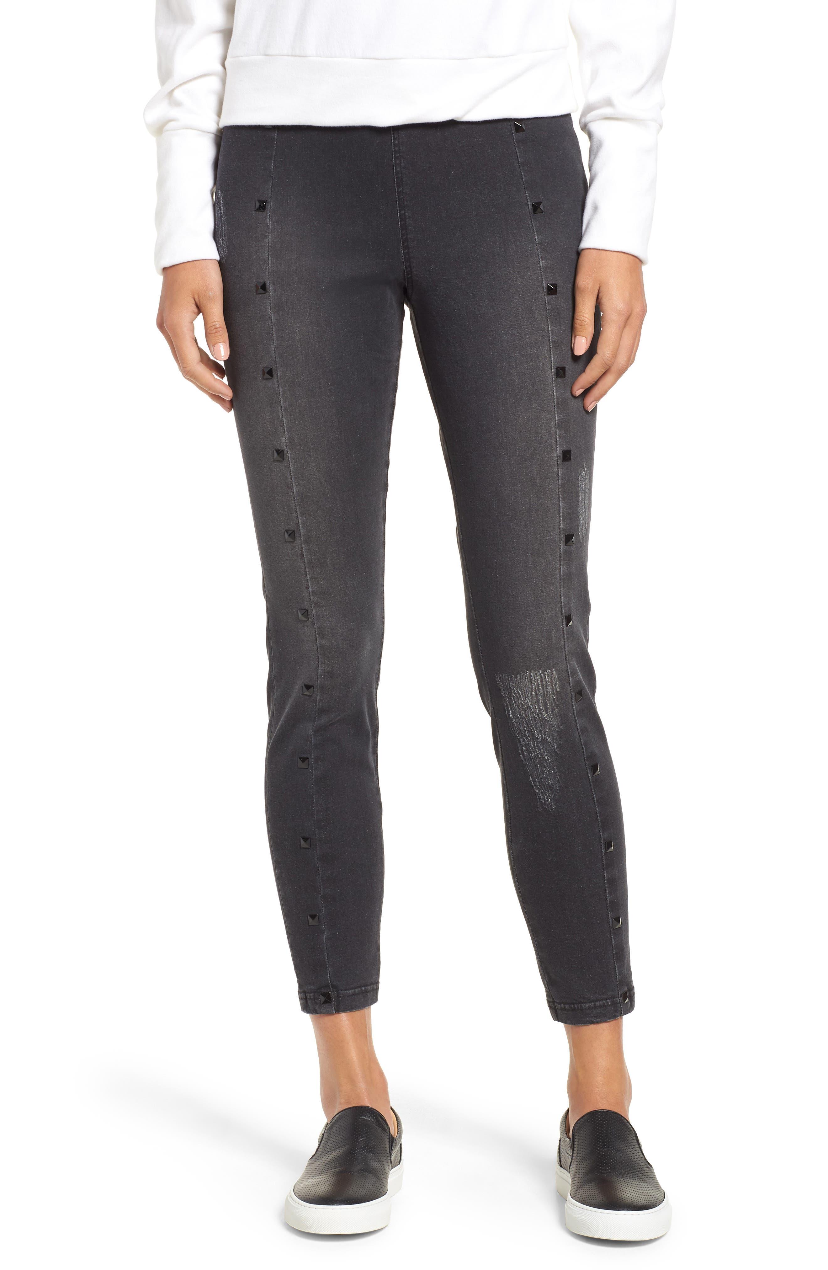Studded High Waist Denim Leggings,                         Main,                         color, DARK GREY WASH