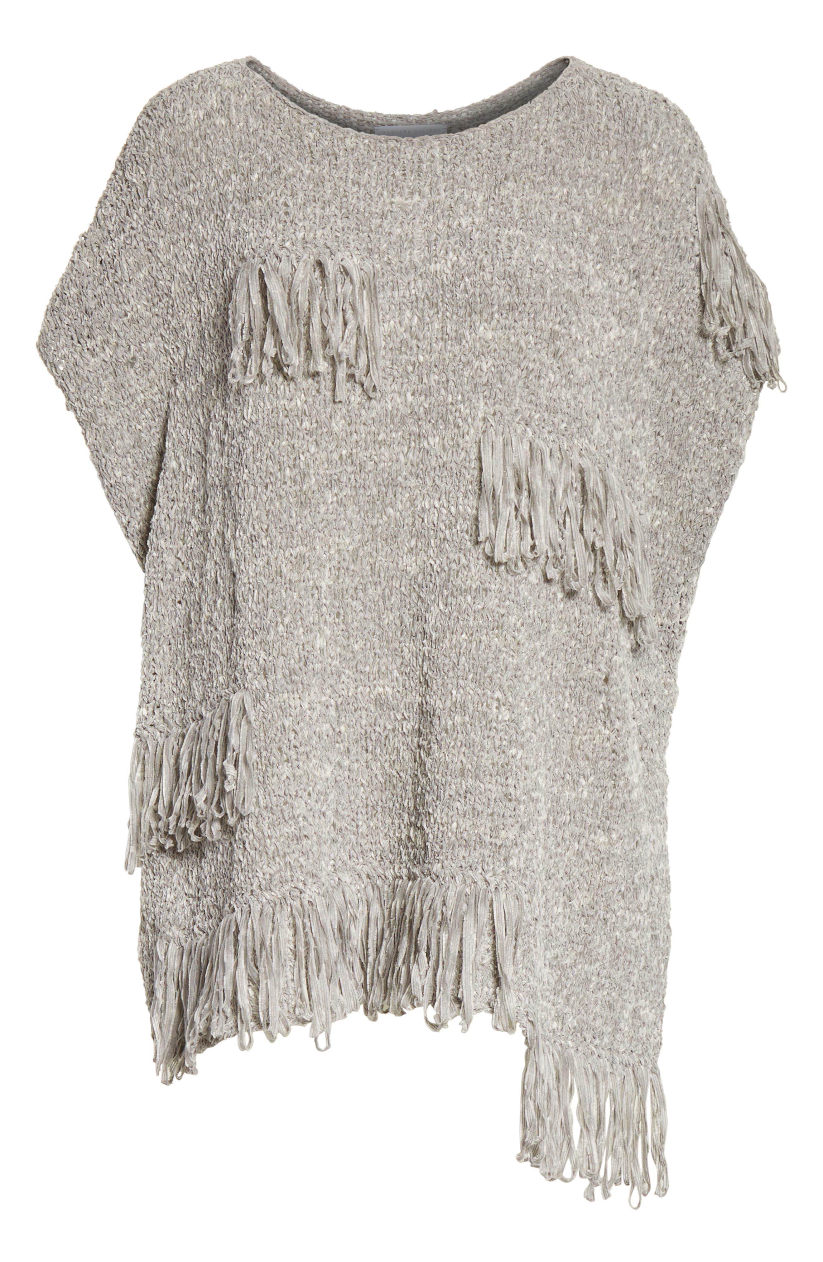 Fringe Chenille Knit Poncho Sweater,                             Alternate thumbnail 6, color,                             020