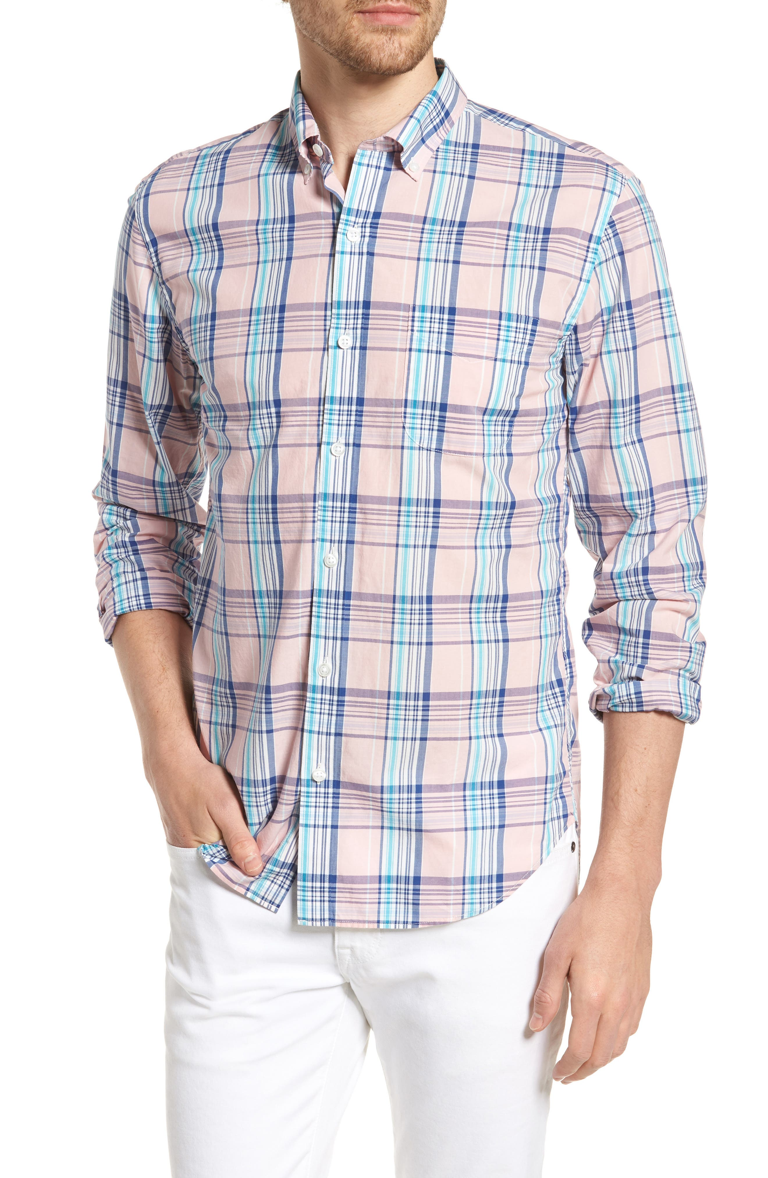 Slim Fit Summerweight Plaid Sport Shirt,                         Main,                         color, 650