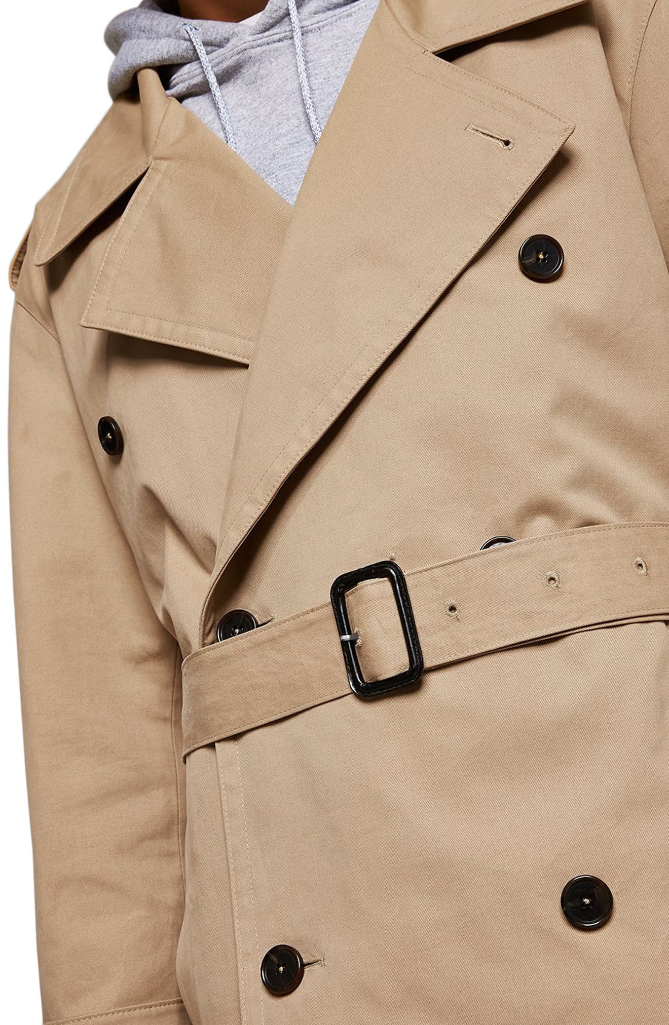 Double Breasted Trench Coat,                             Alternate thumbnail 3, color,                             STONE