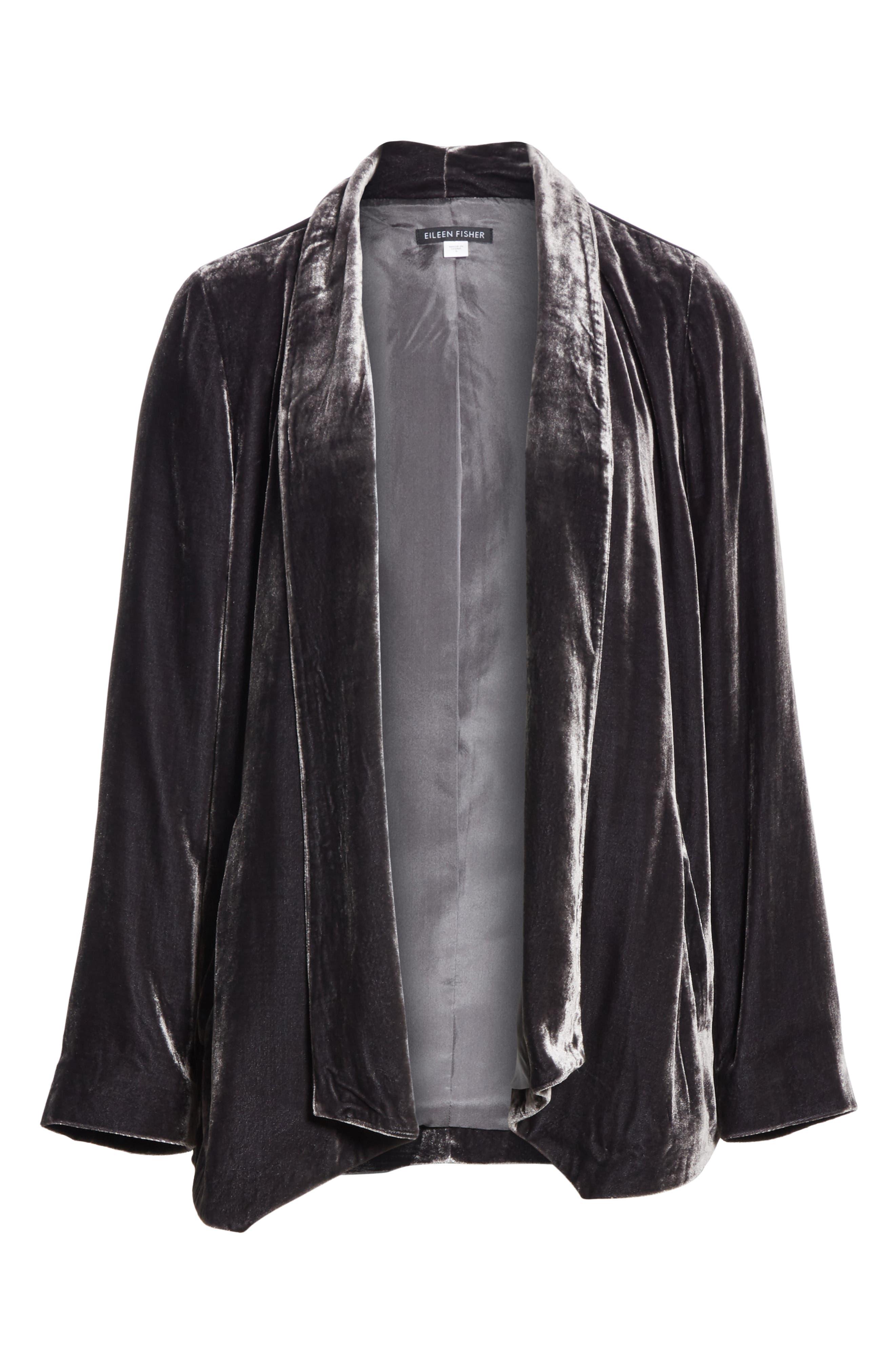 Angled Front Velvet Jacket,                             Alternate thumbnail 6, color,                             CHARCOAL