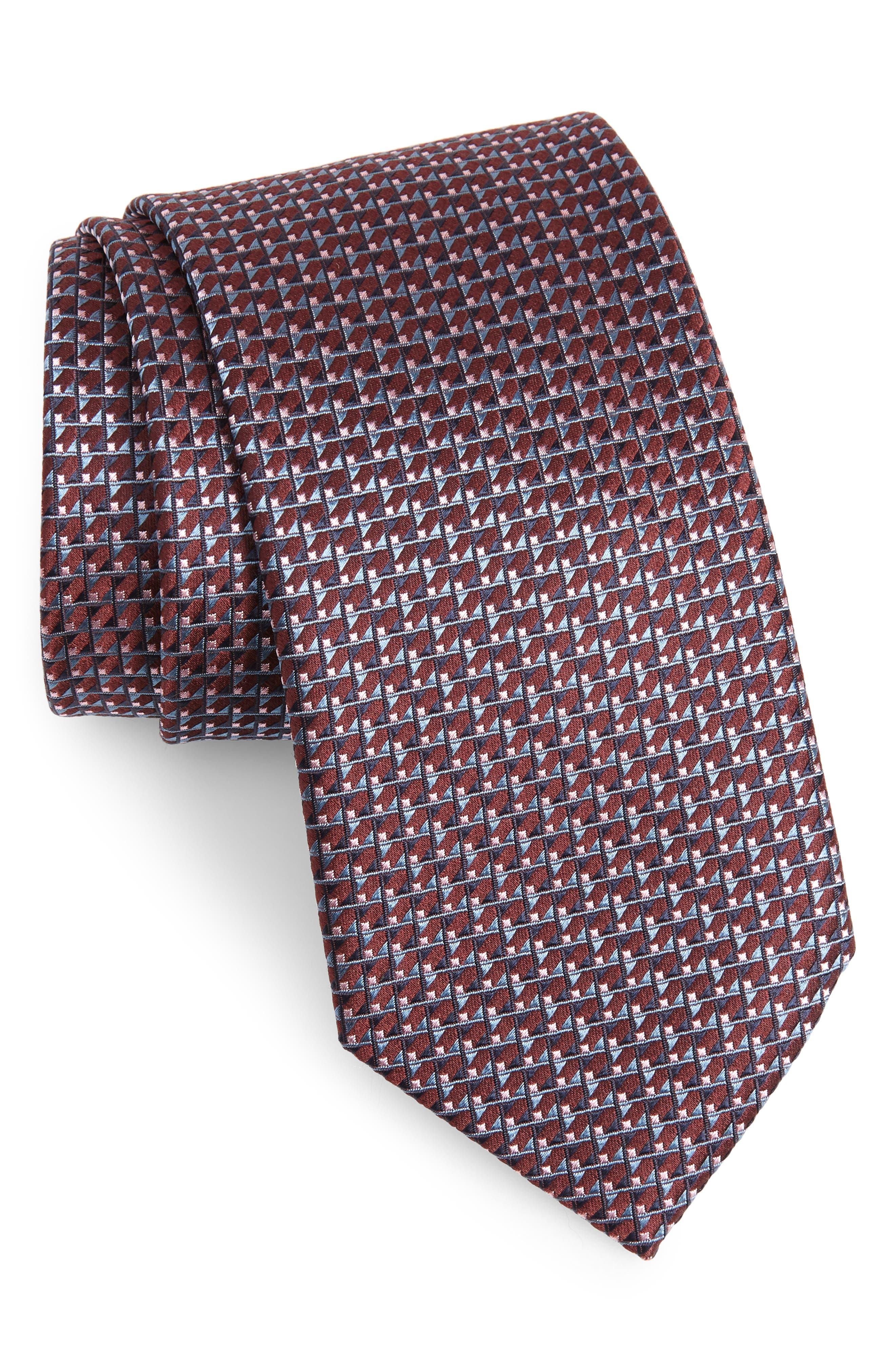 Neat Geometric Silk Tie,                             Main thumbnail 1, color,                             BURGUNDY
