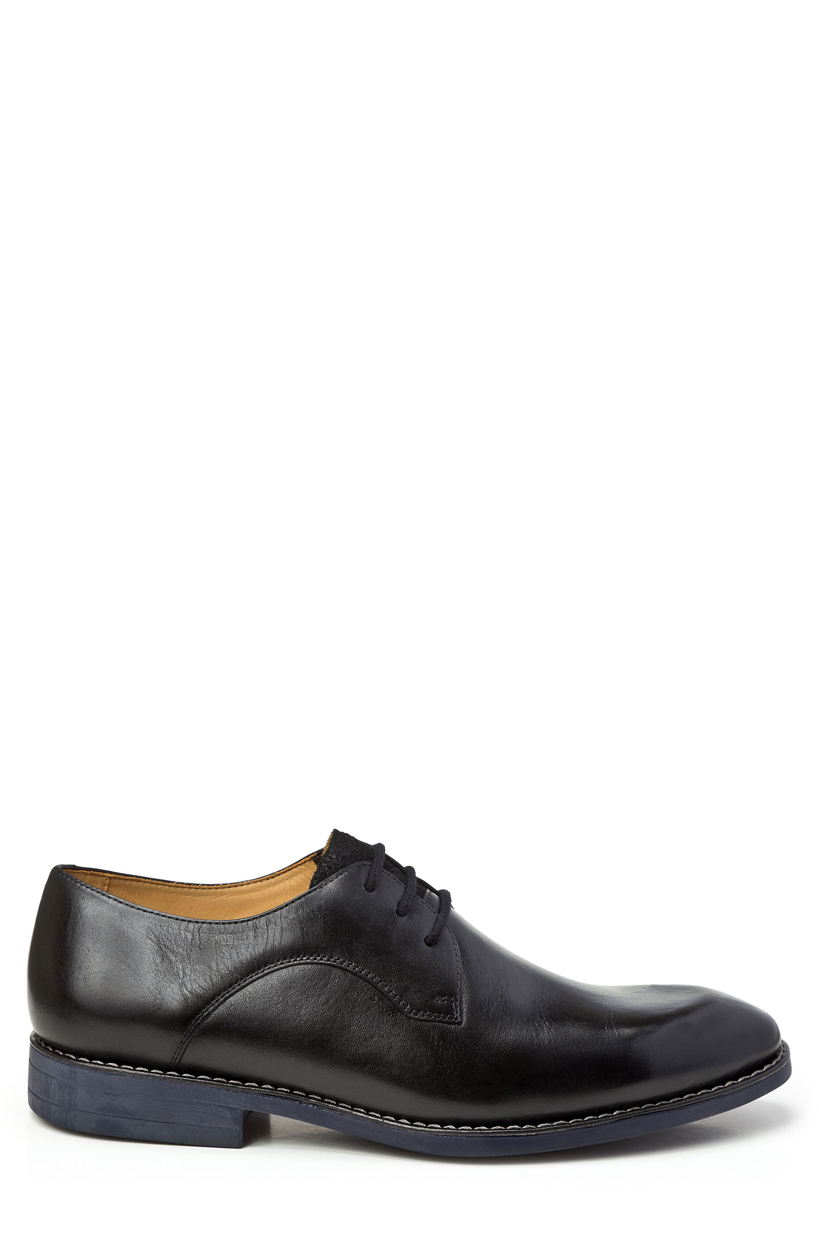 Garret Plain Toe Derby,                             Alternate thumbnail 3, color,                             BLACK LEATHER