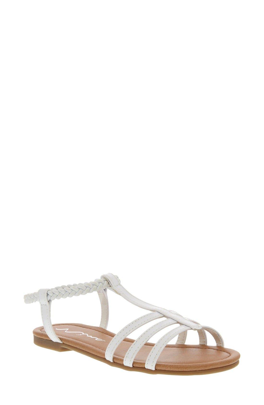 'Melvie' Sandal,                             Main thumbnail 1, color,                             WHITE