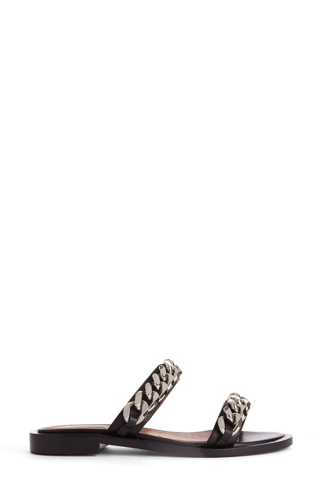 Double Chain Slide Sandal,                             Alternate thumbnail 4, color,                             BLACK