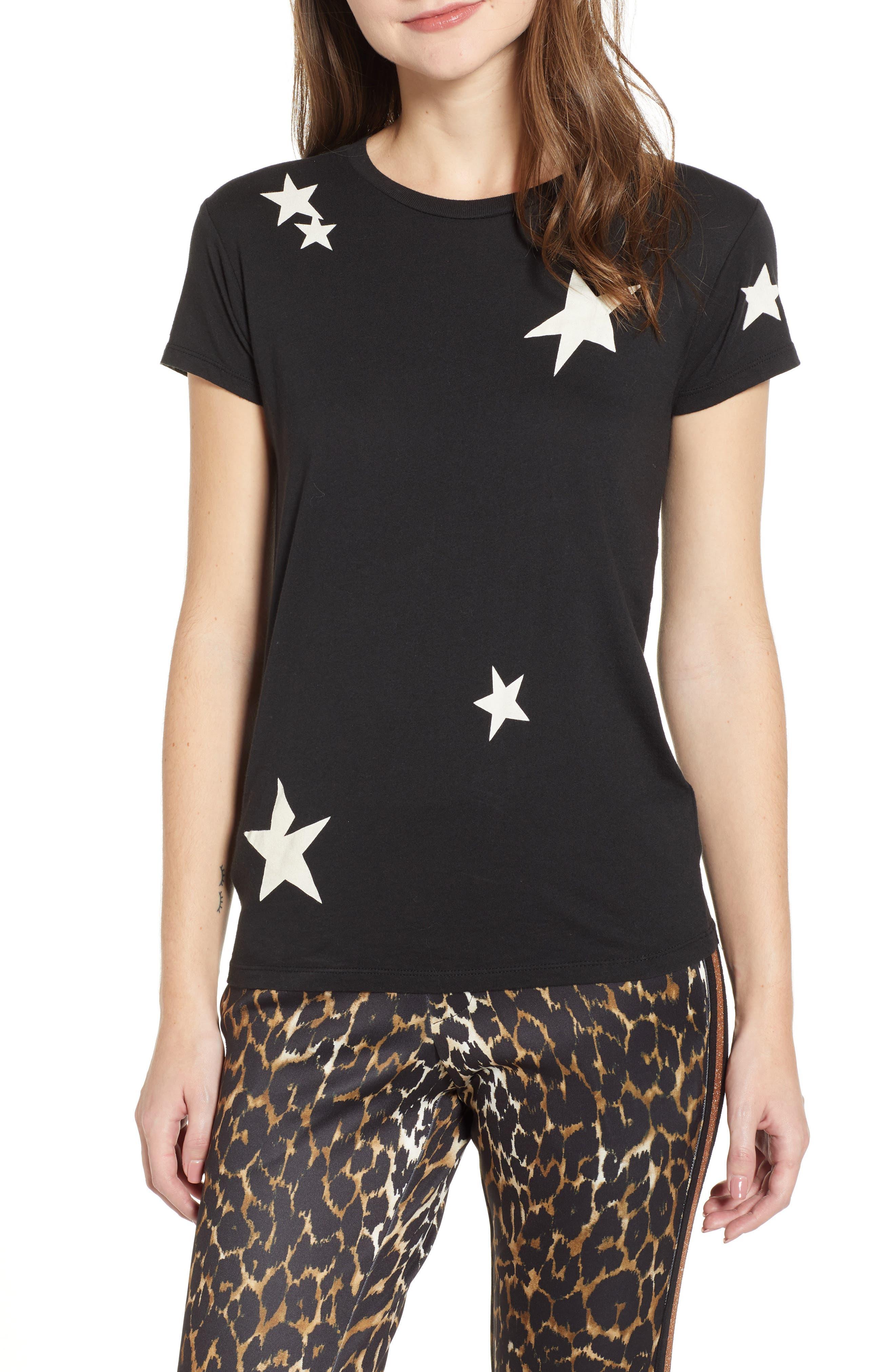 Pam & Gela Stars Print Tee, Size Petite - Black