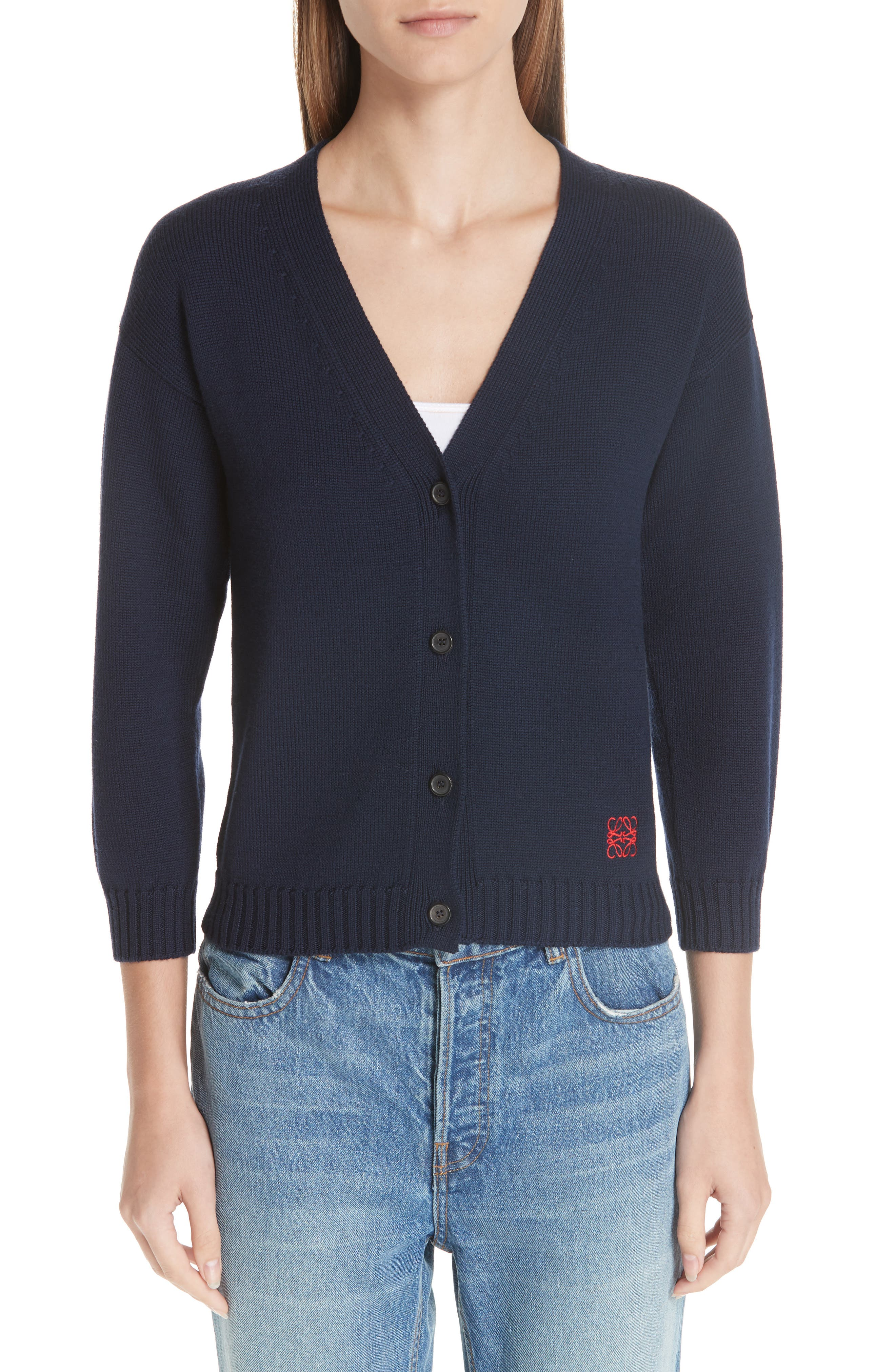 Wool Logo Cardigan,                         Main,                         color, NAVY BLUE