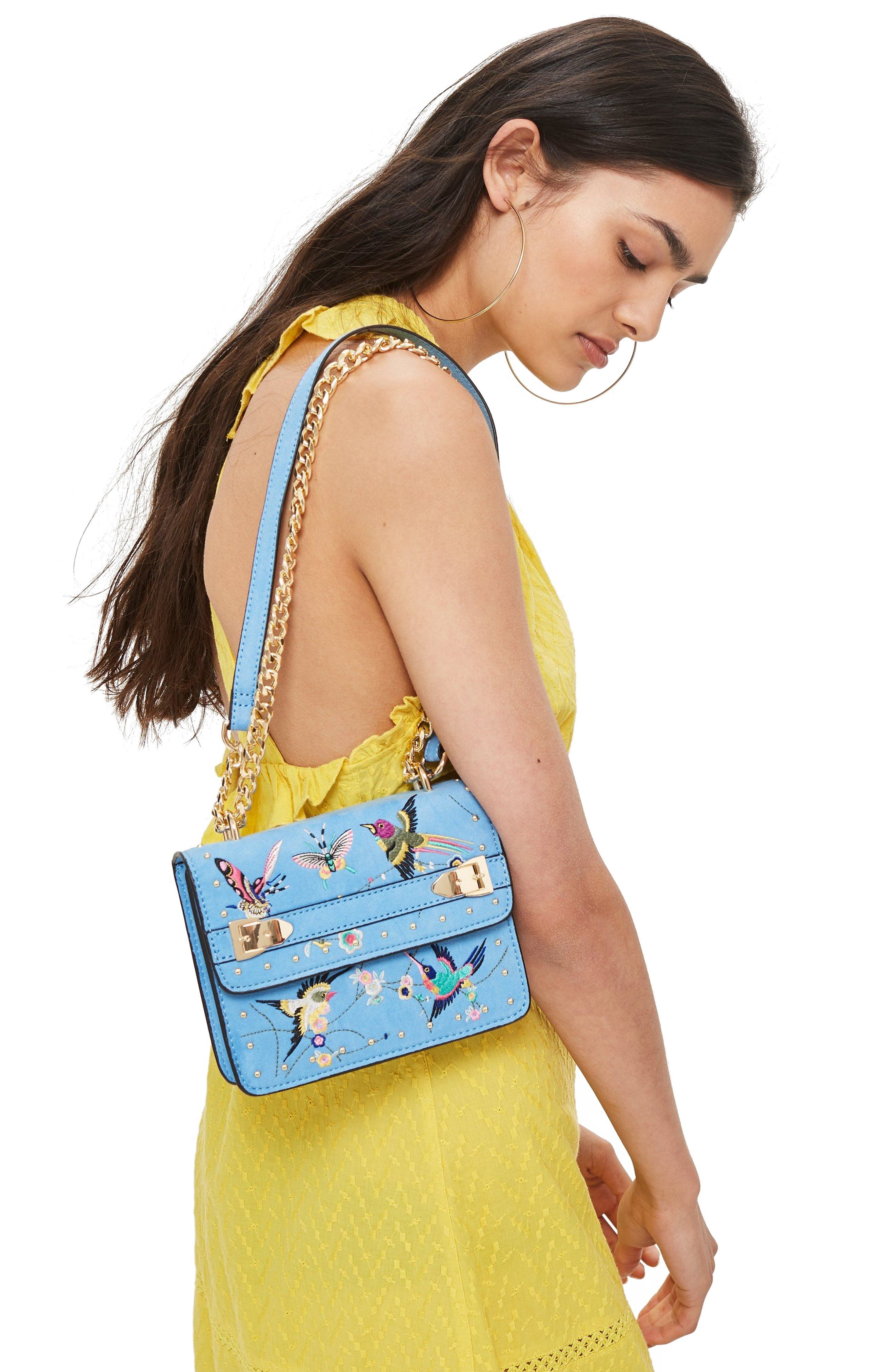 Polly Bird Embroidered Crossbody Bag,                             Alternate thumbnail 2, color,                             BLUE MULTI