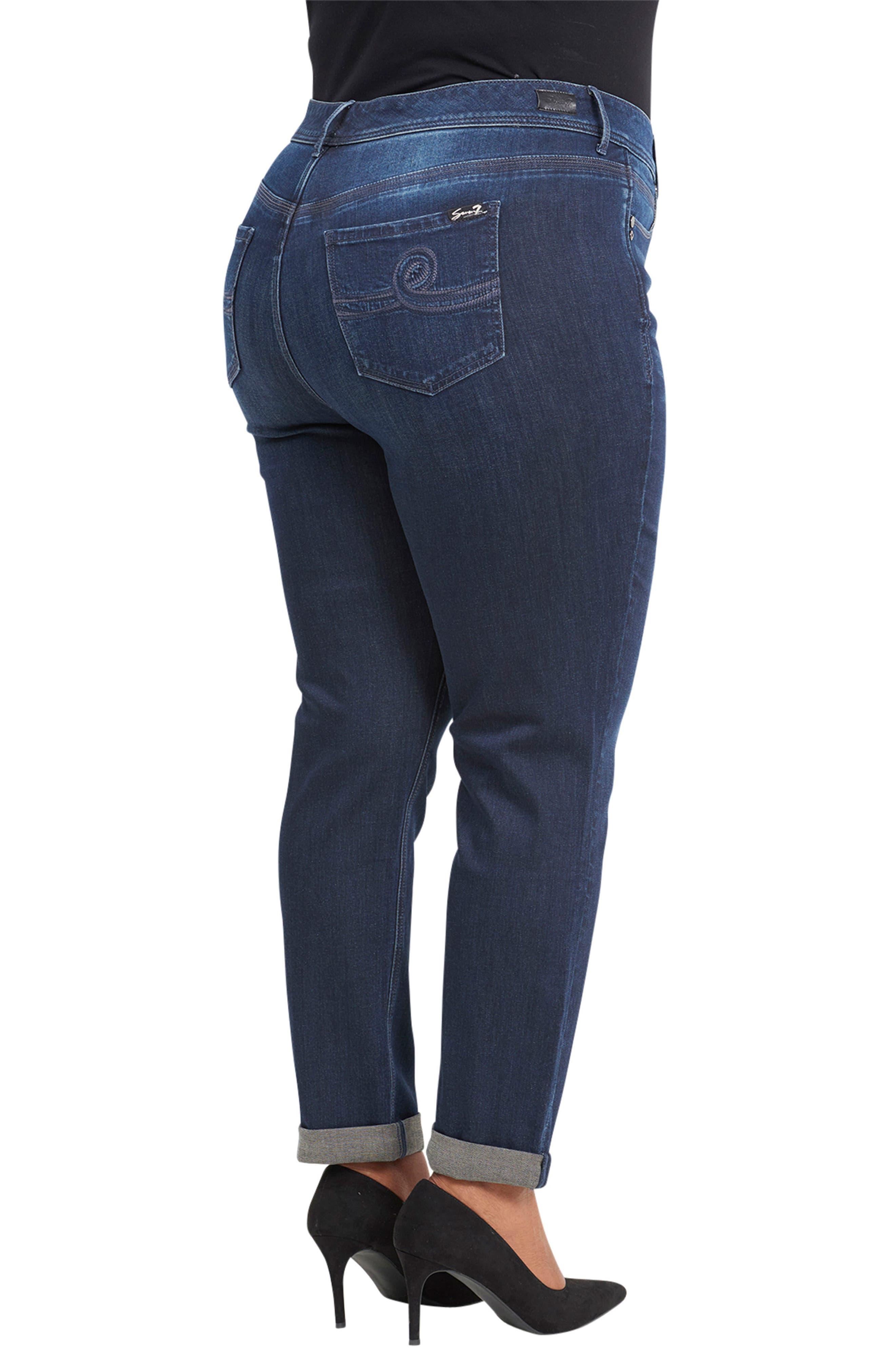 Tummyless High Rise Roll Cuff Slim Fit Jeans,                             Alternate thumbnail 5, color,                             TWAIN